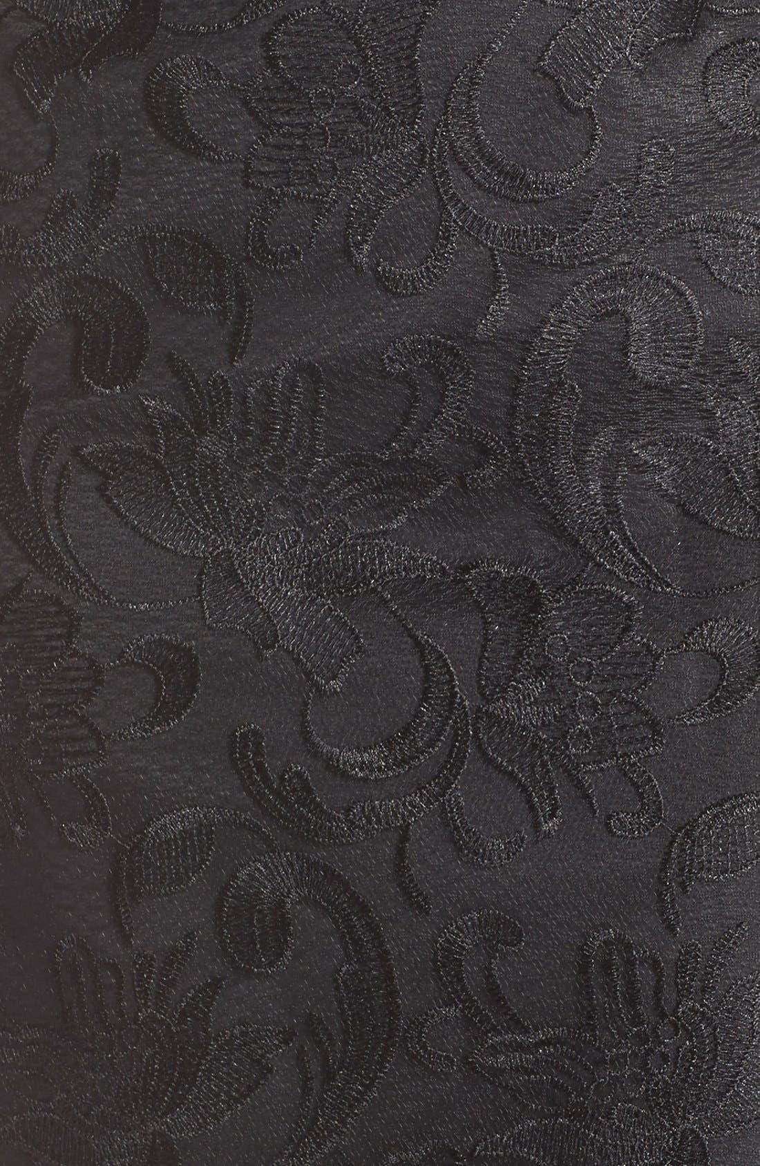 Illusion Yoke Lace Sheath Dress,                             Alternate thumbnail 4, color,                             001