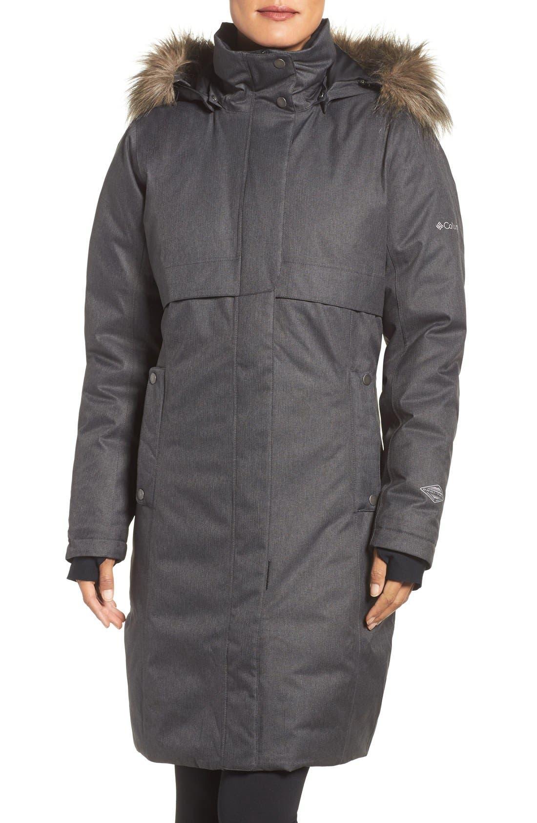 Apres Arson<sup>™</sup> Down Jacket with Faux Fur Trim, Main, color, 010