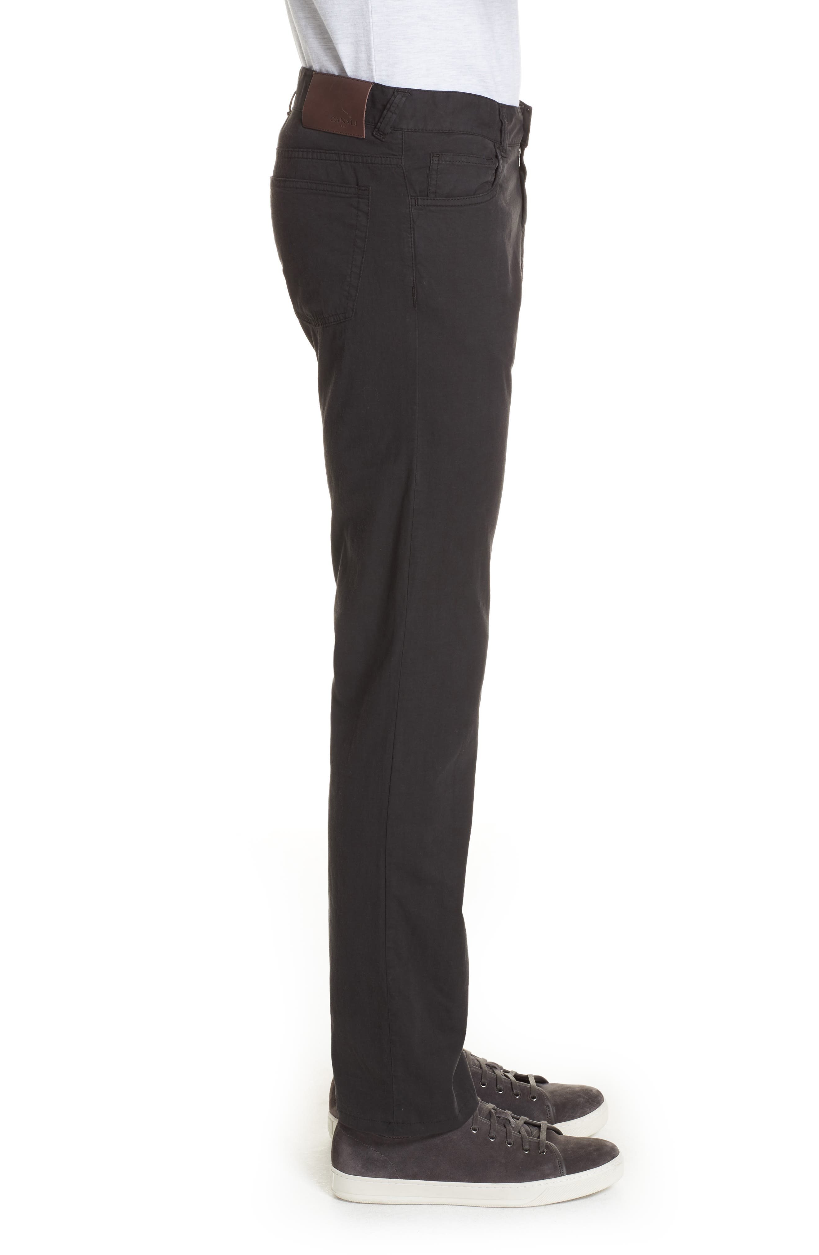Stretch Cotton & Silk Five Pocket Trousers,                             Alternate thumbnail 3, color,                             BLACK