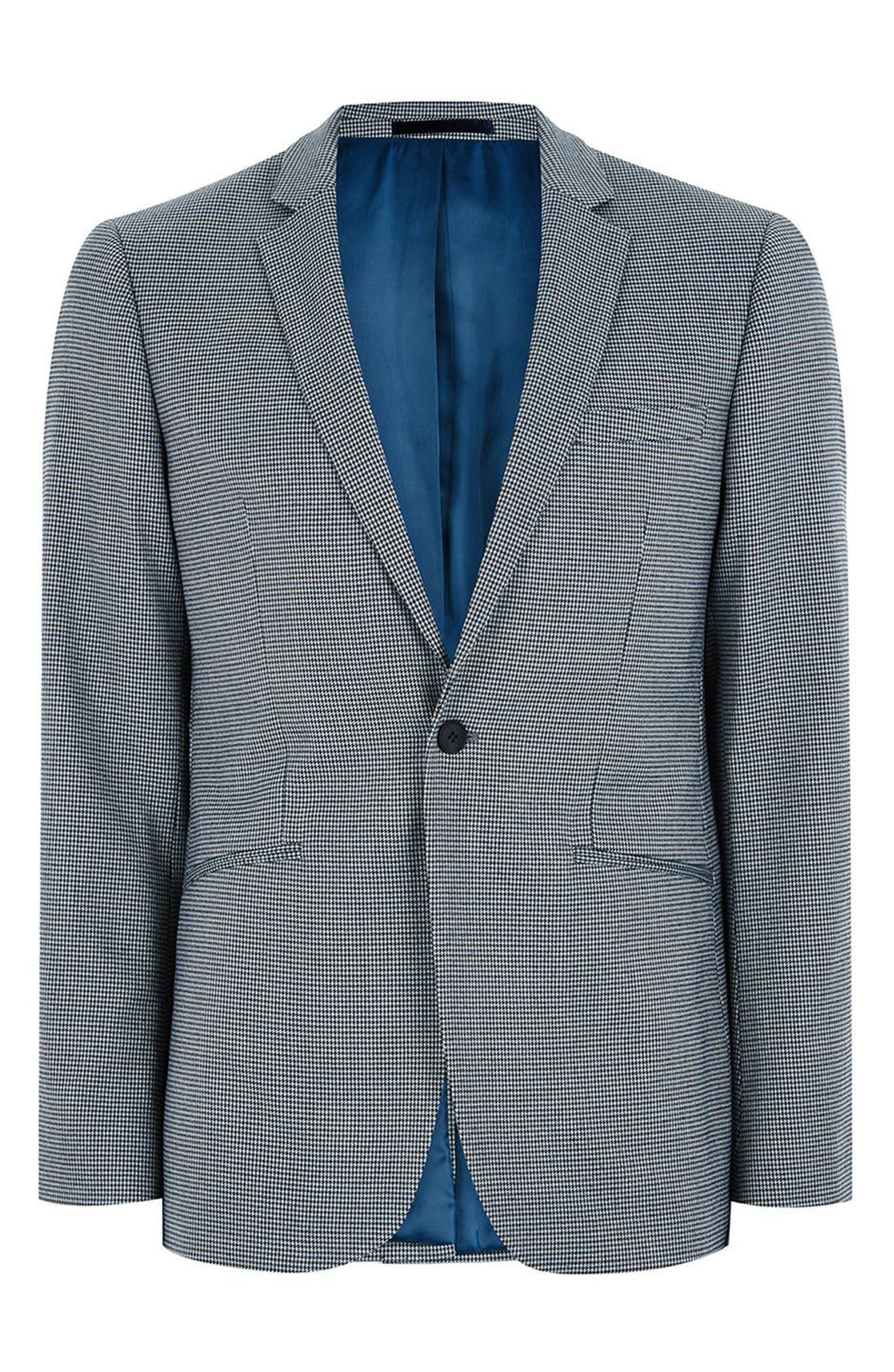 Skinny Fit Houndstooth Suit Jacket,                             Alternate thumbnail 4, color,