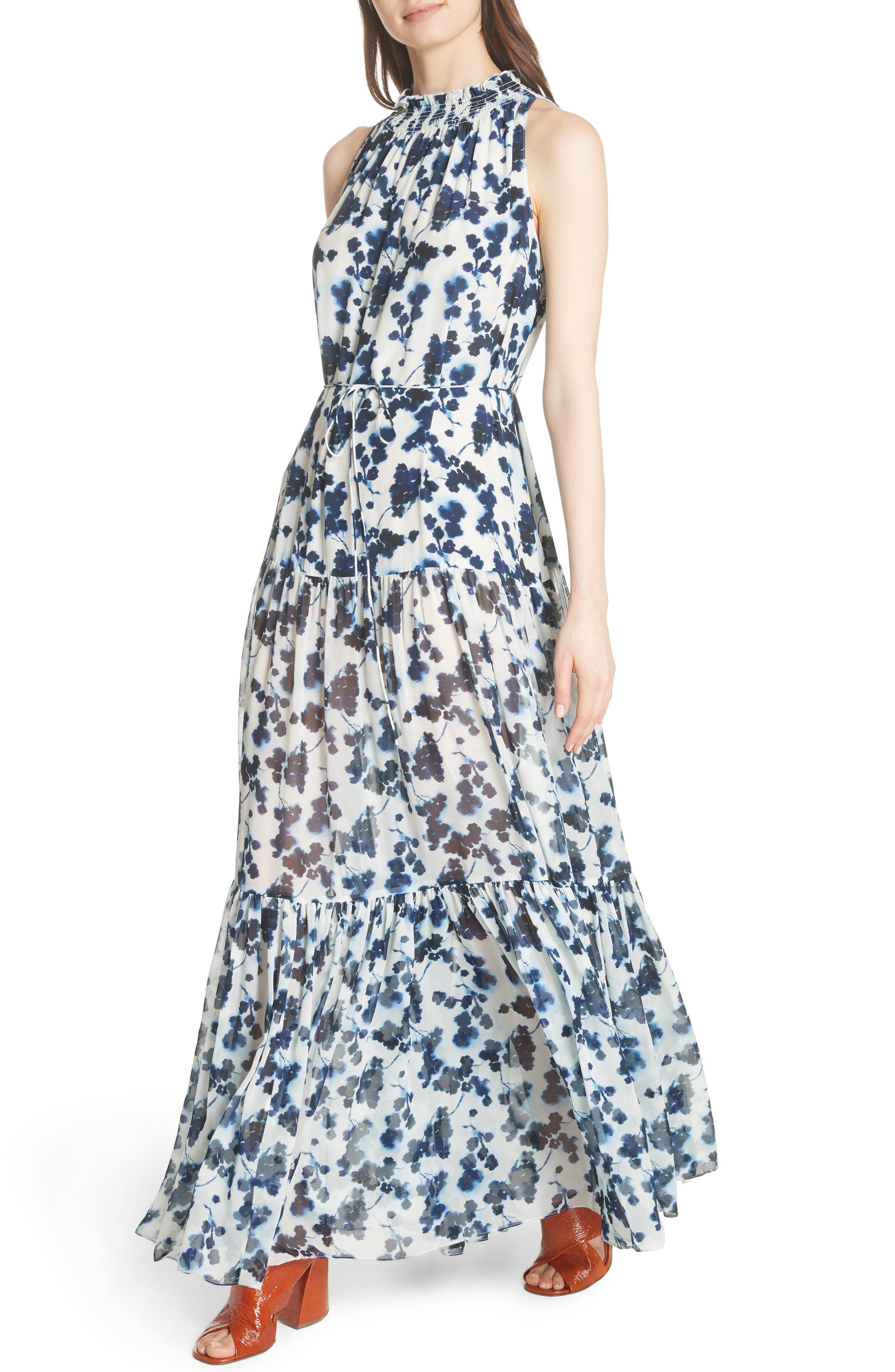 Lani P Floral Print Silk Dress,                             Alternate thumbnail 4, color,                             426