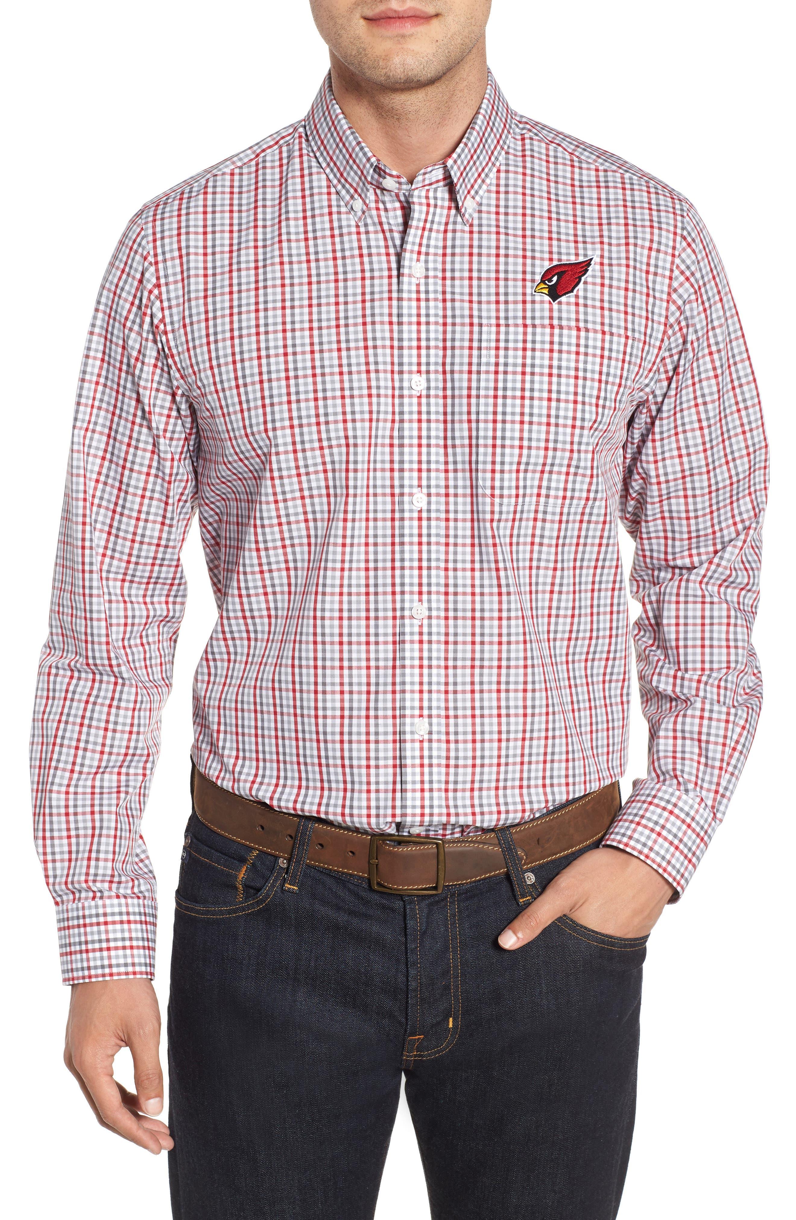 Arizona Cardinals - Gilman Regular Fit Plaid Sport Shirt,                             Main thumbnail 1, color,                             CARDINAL RED