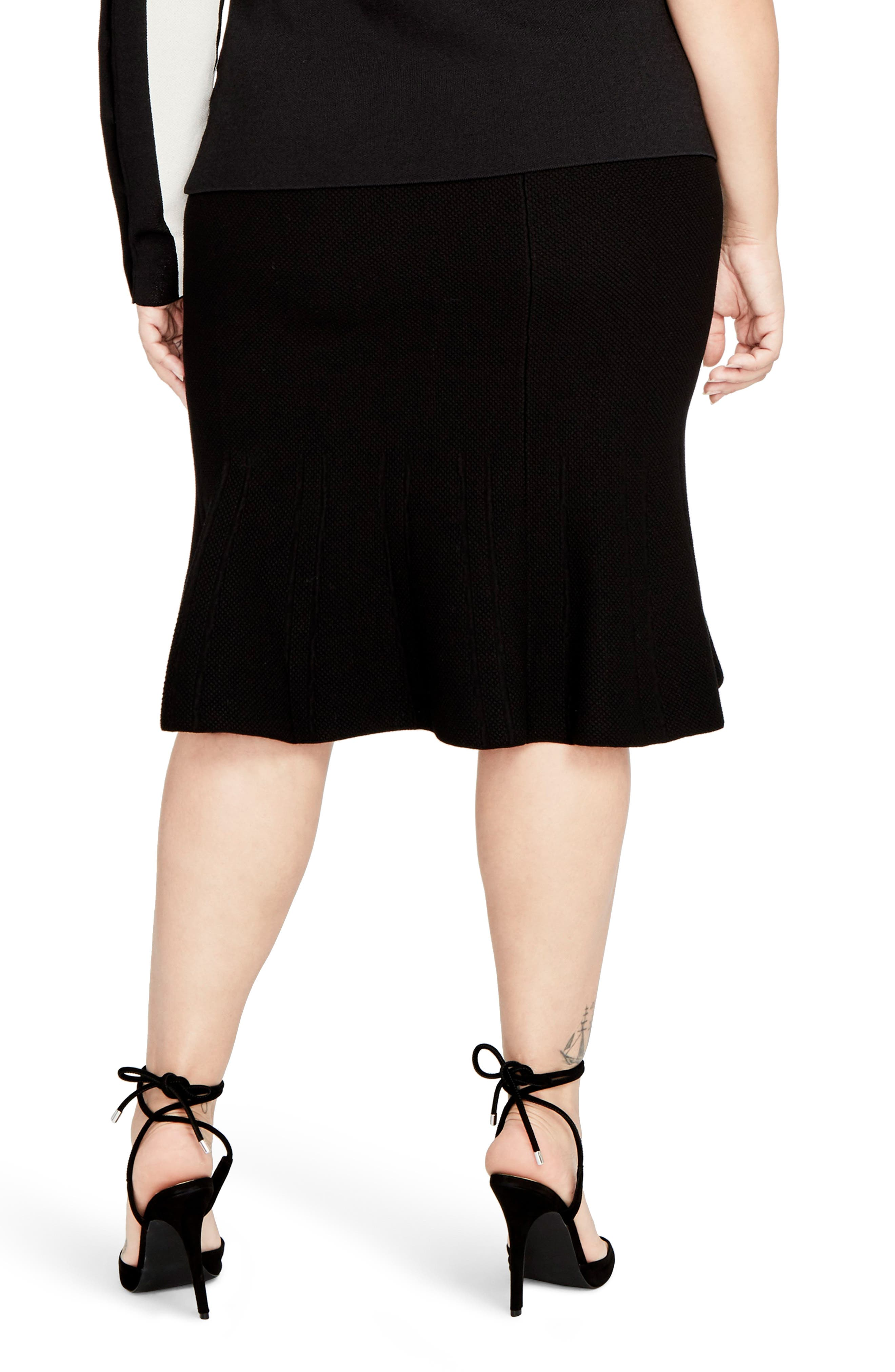 Rachel Roy Pebble Jacquard Fit & Flare Skirt,                             Alternate thumbnail 2, color,                             001