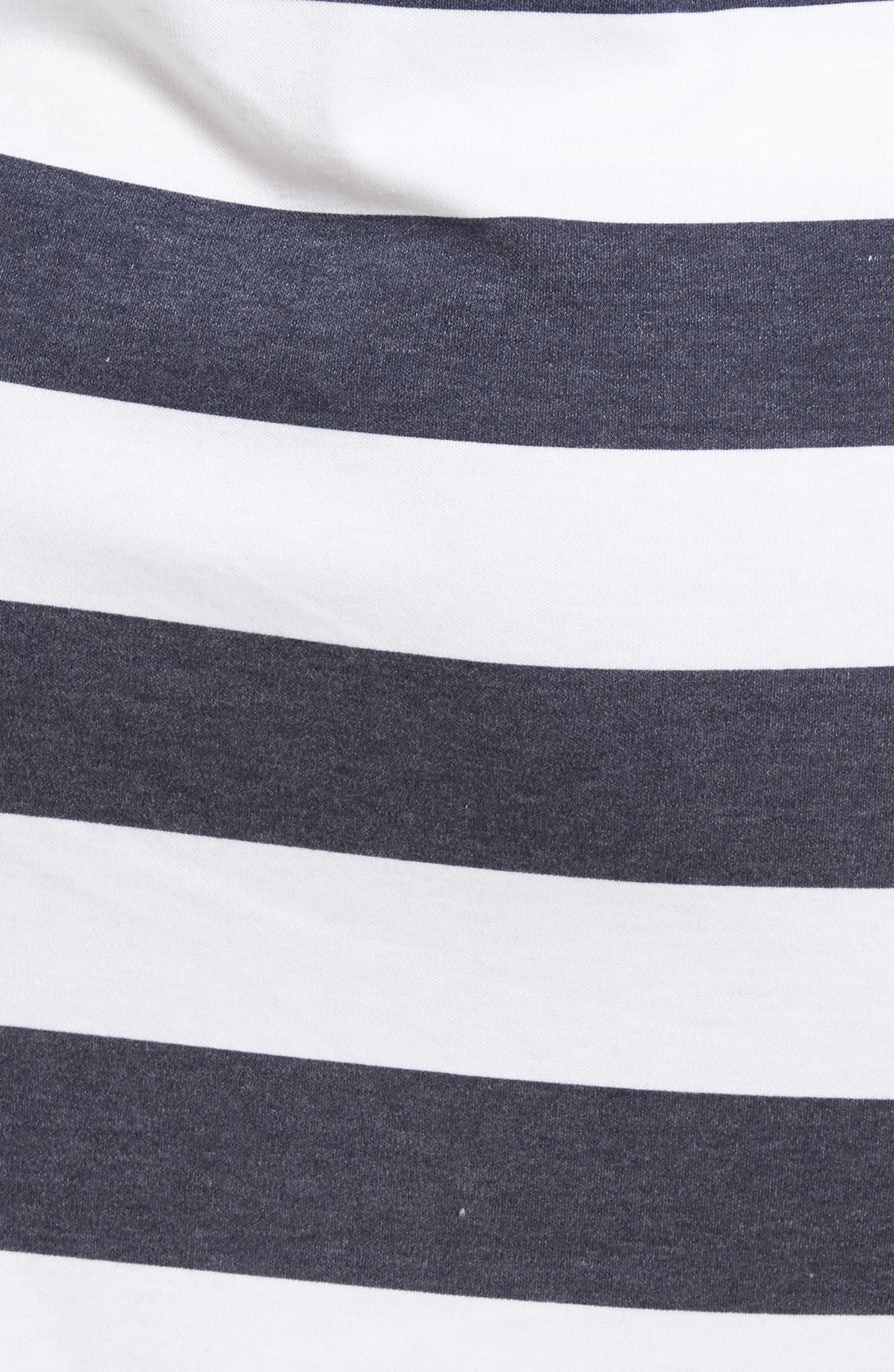 Rugby Stripe T-Shirt Dress,                             Alternate thumbnail 5, color,                             428