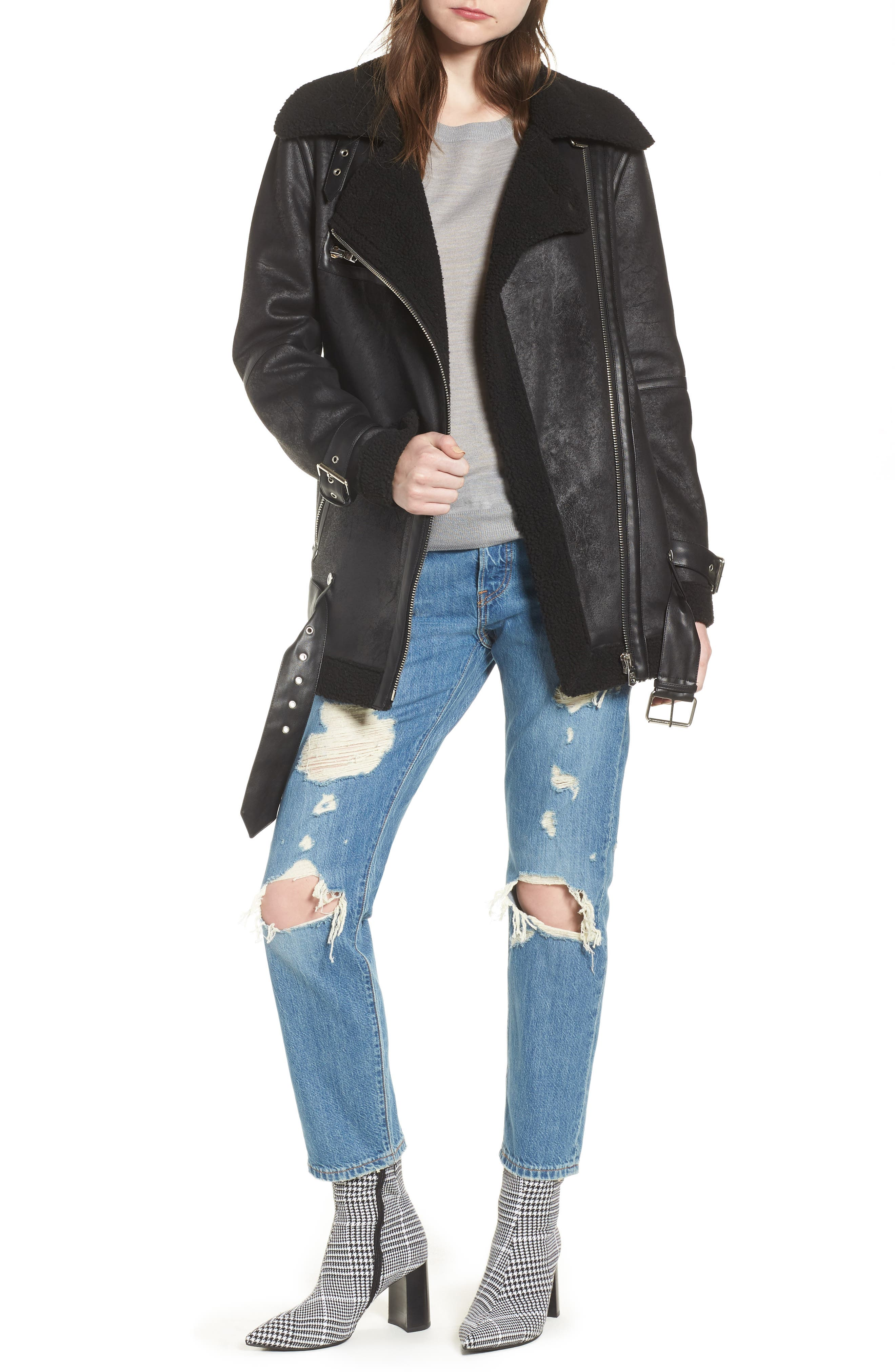 Faux Shearling Biker Jacket,                         Main,                         color, BLACK