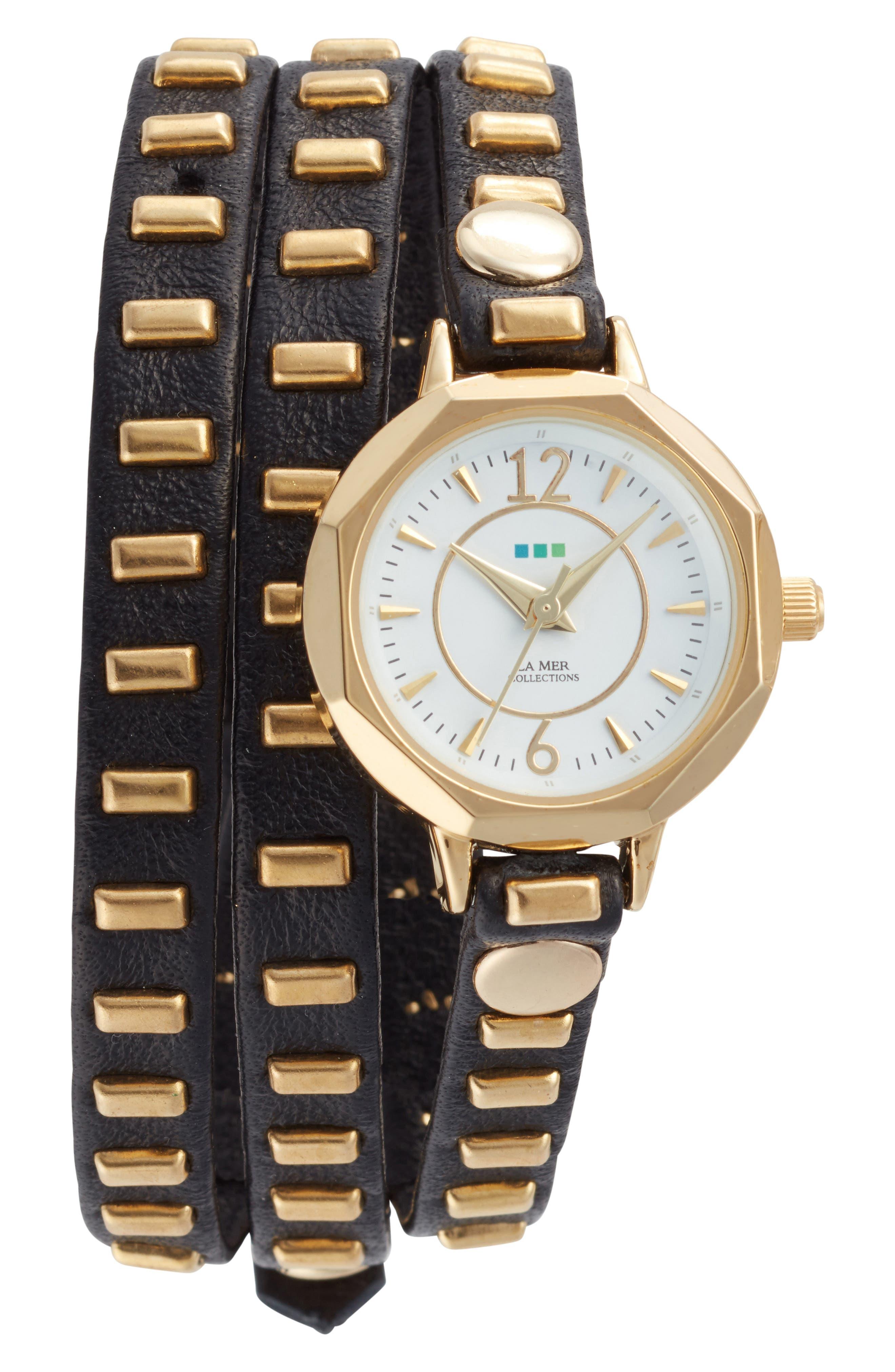 Baguette Stud Leather Wrap Strap Watch, 35mm,                         Main,                         color, 001