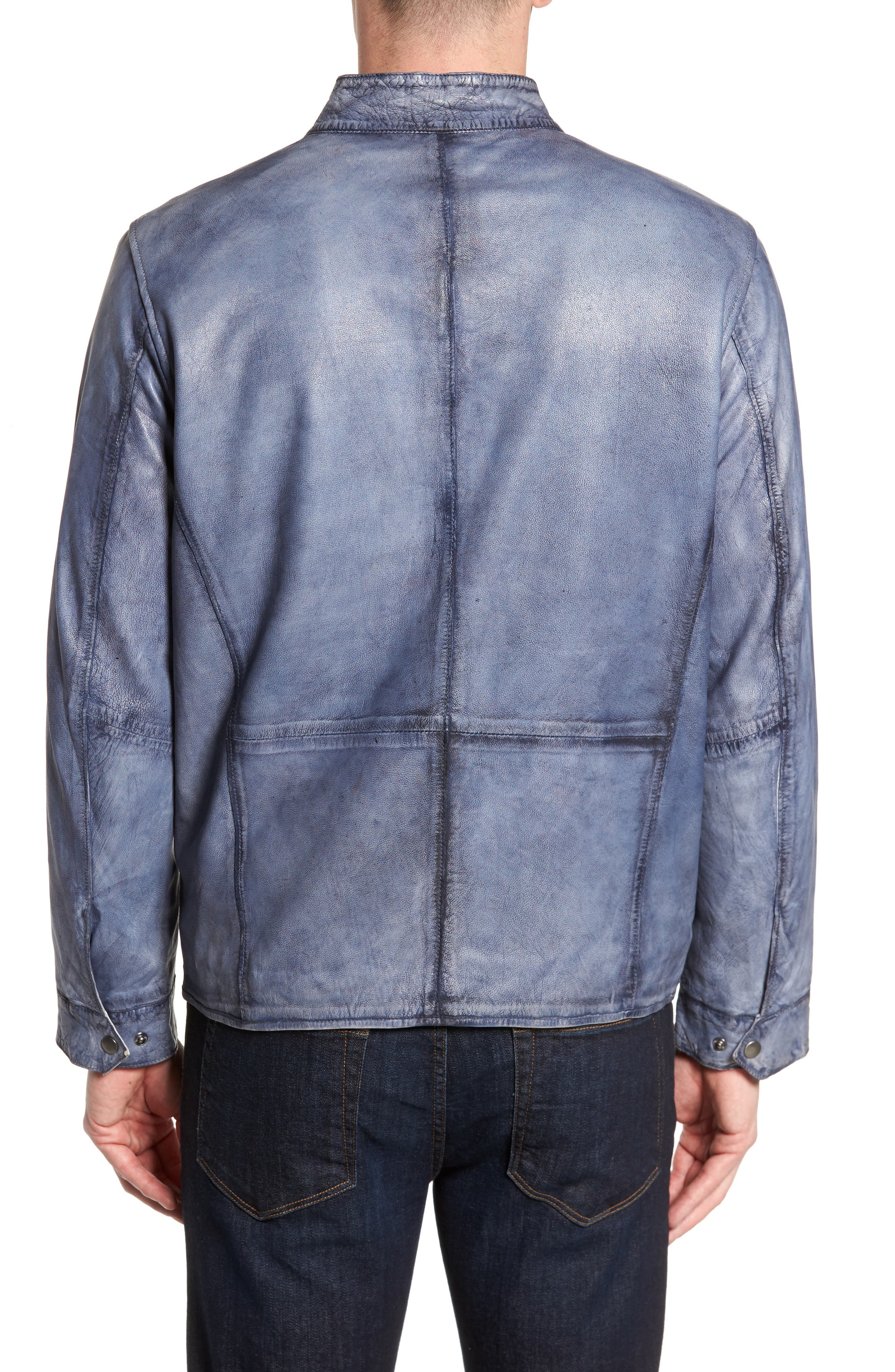 Abraded Washed Leather Jacket,                             Alternate thumbnail 2, color,                             450