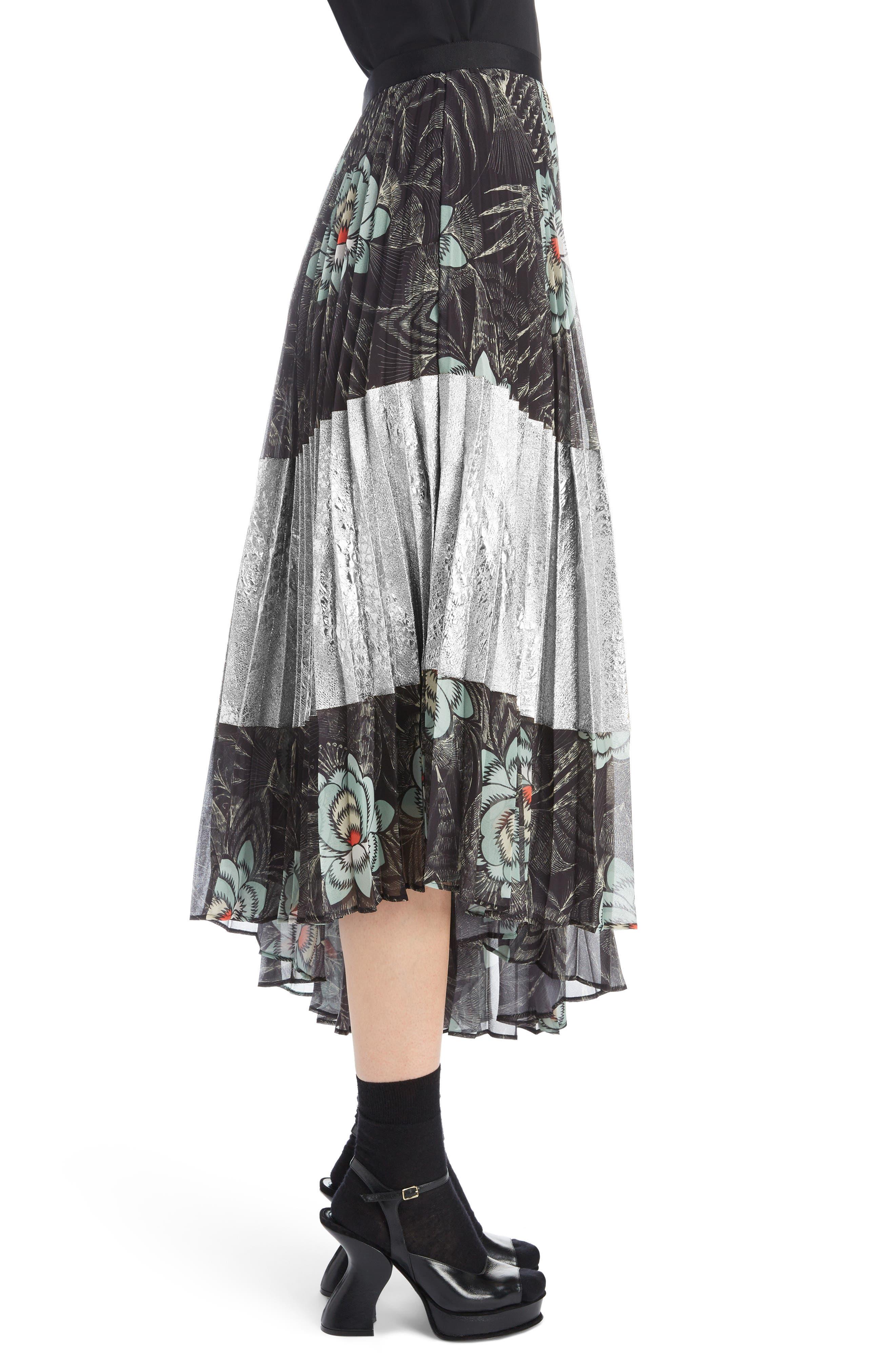 Pleated Floral Print & Metallic Skirt,                             Alternate thumbnail 3, color,                             BLACK