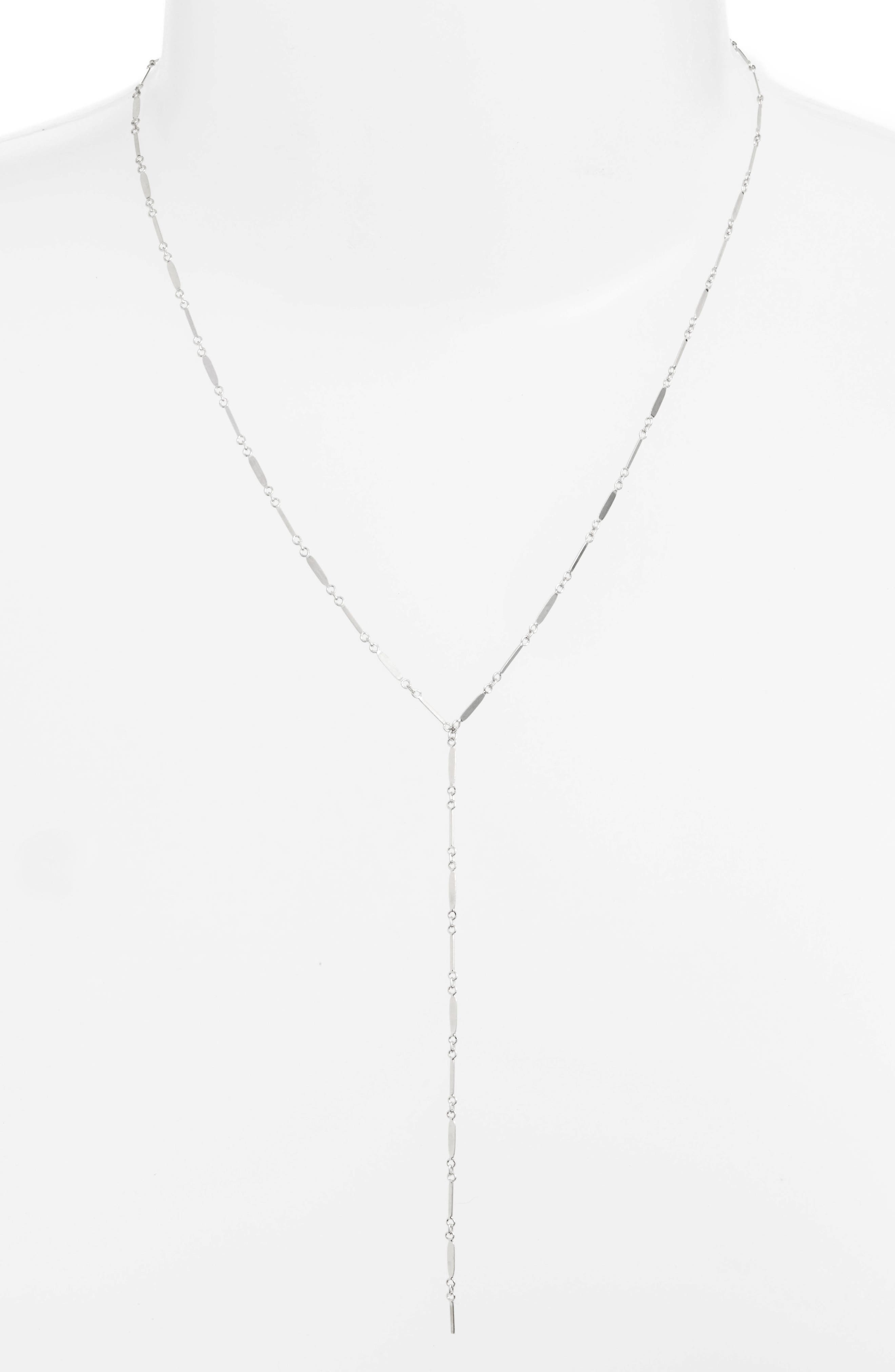 Mirror Bar Lariat Necklace,                         Main,                         color, SILVER