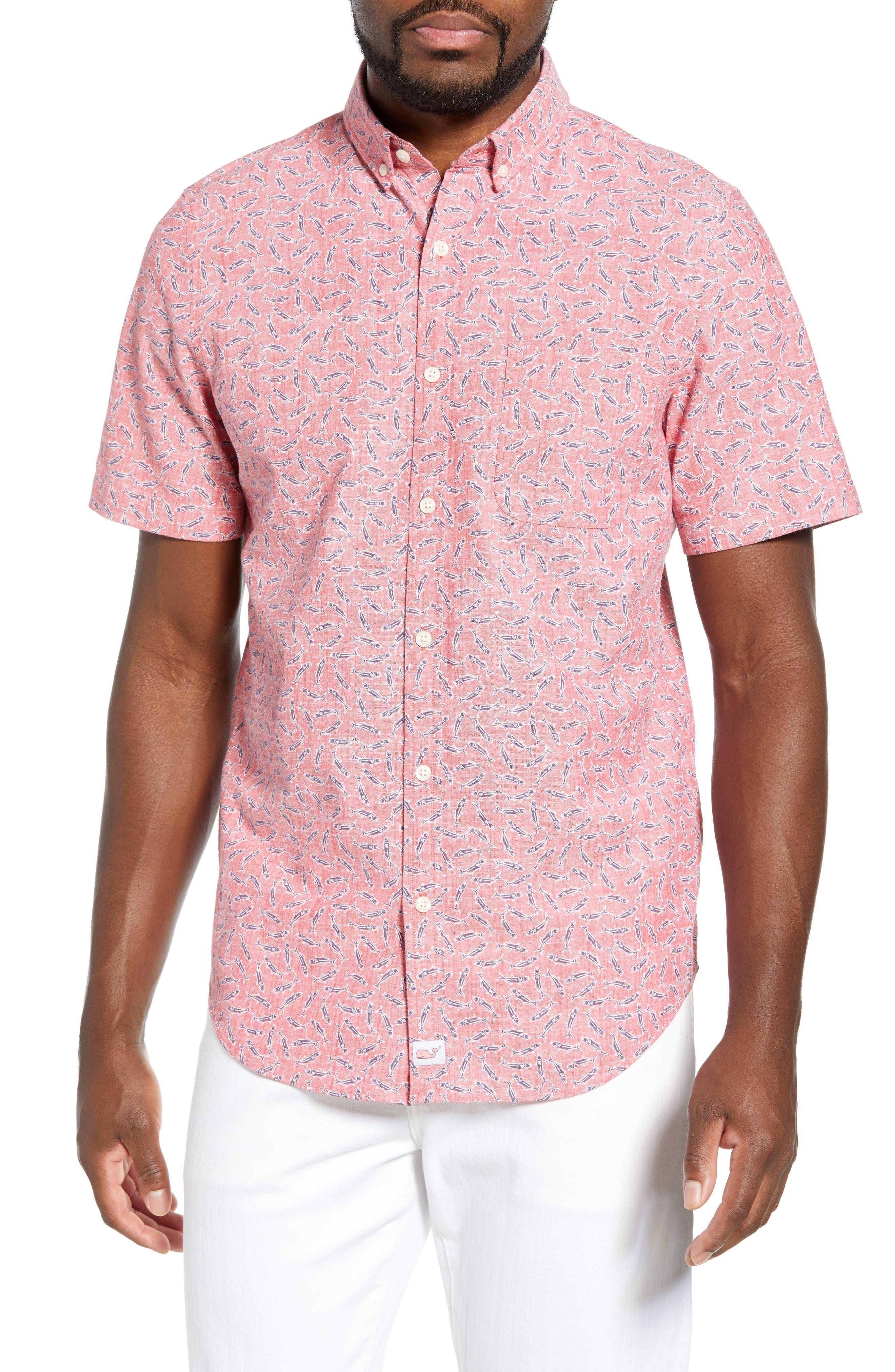 VINEYARD VINES Murray Slim Fit Sport Shirt, Main, color, LOBSTER REEF
