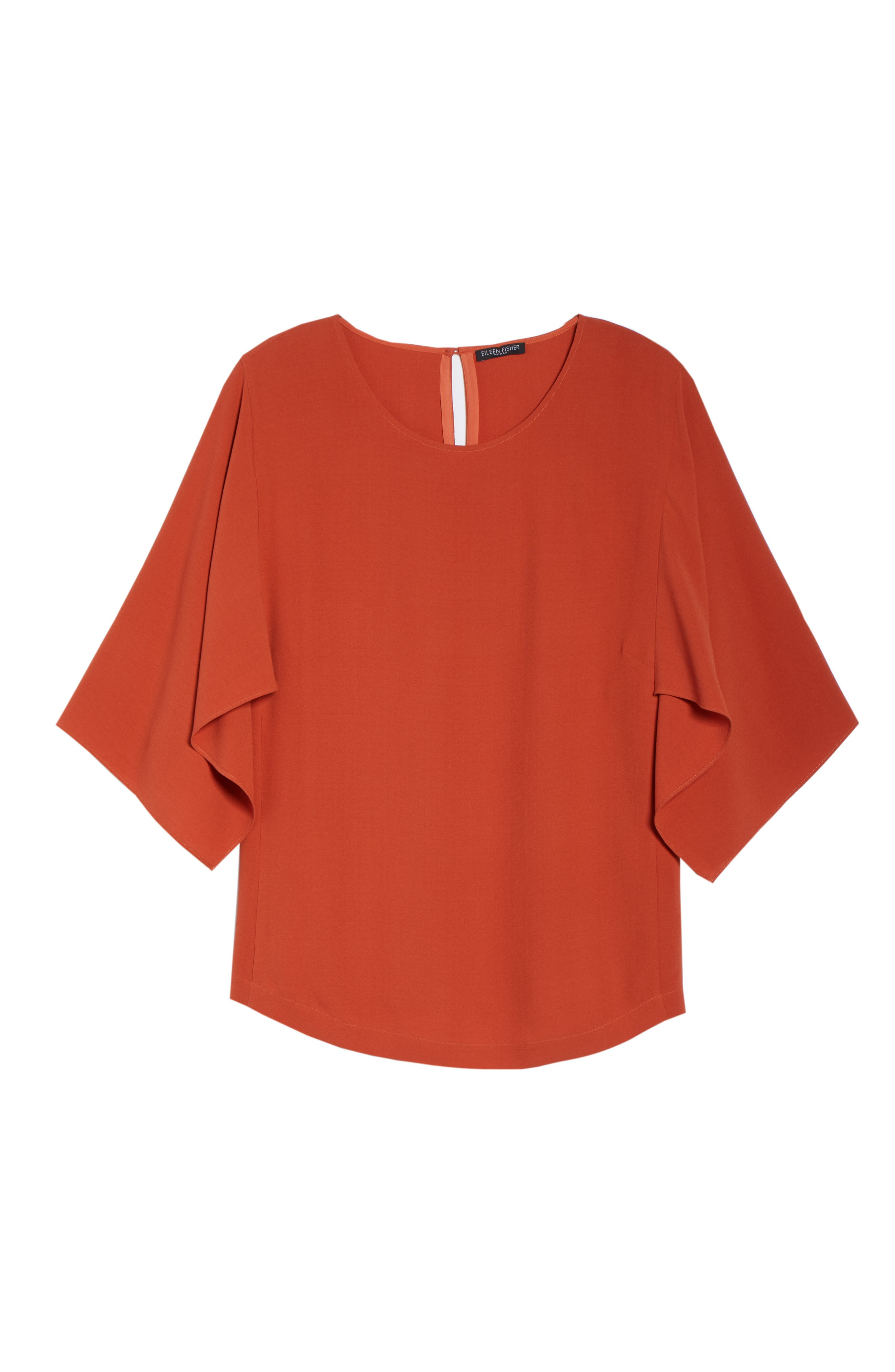 Slit Sleeve Silk Top,                             Alternate thumbnail 7, color,                             ORANGE PEKOE