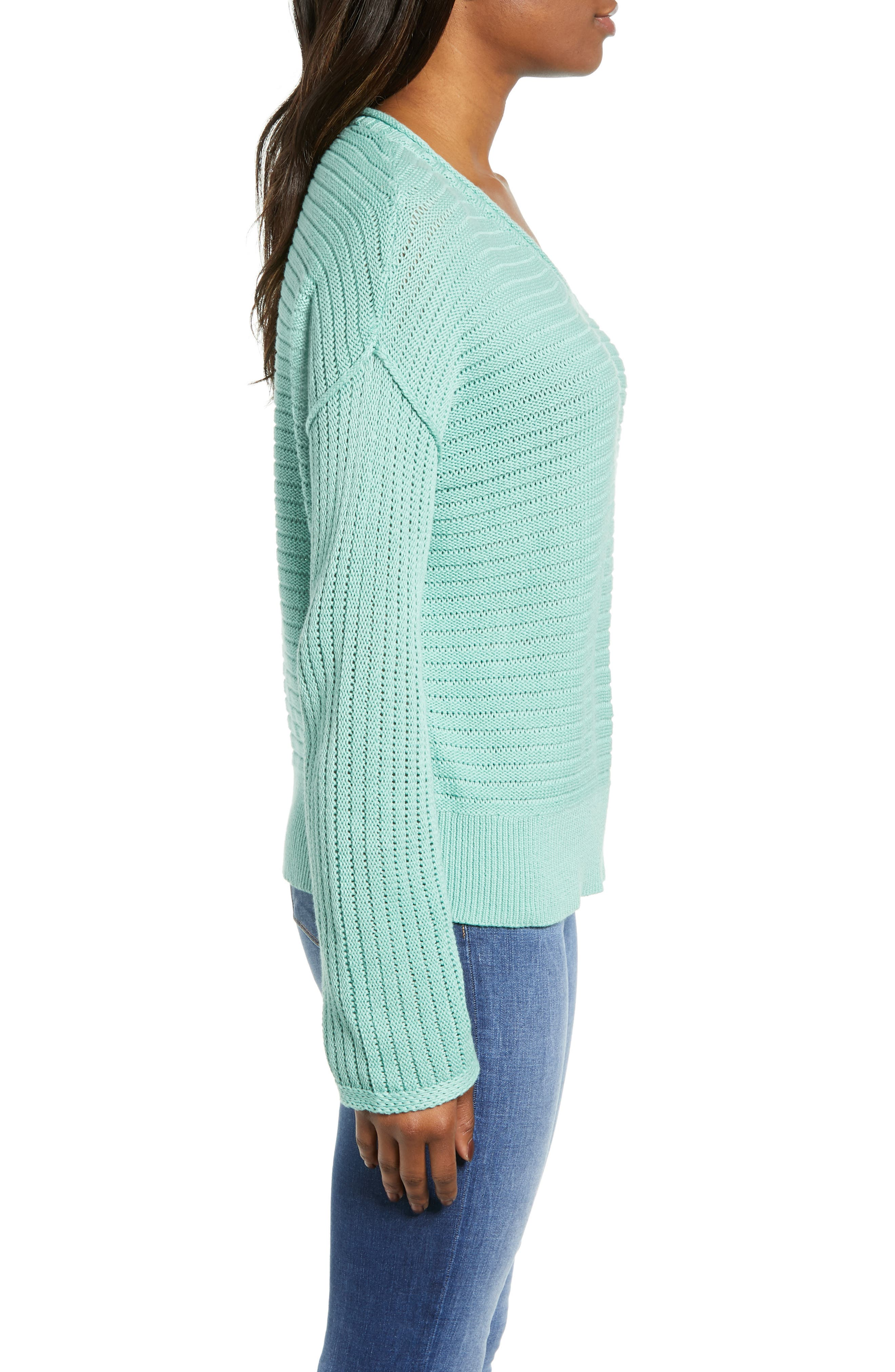 Tuck Stitch V-Neck Sweater,                             Alternate thumbnail 3, color,                             GREEN WING