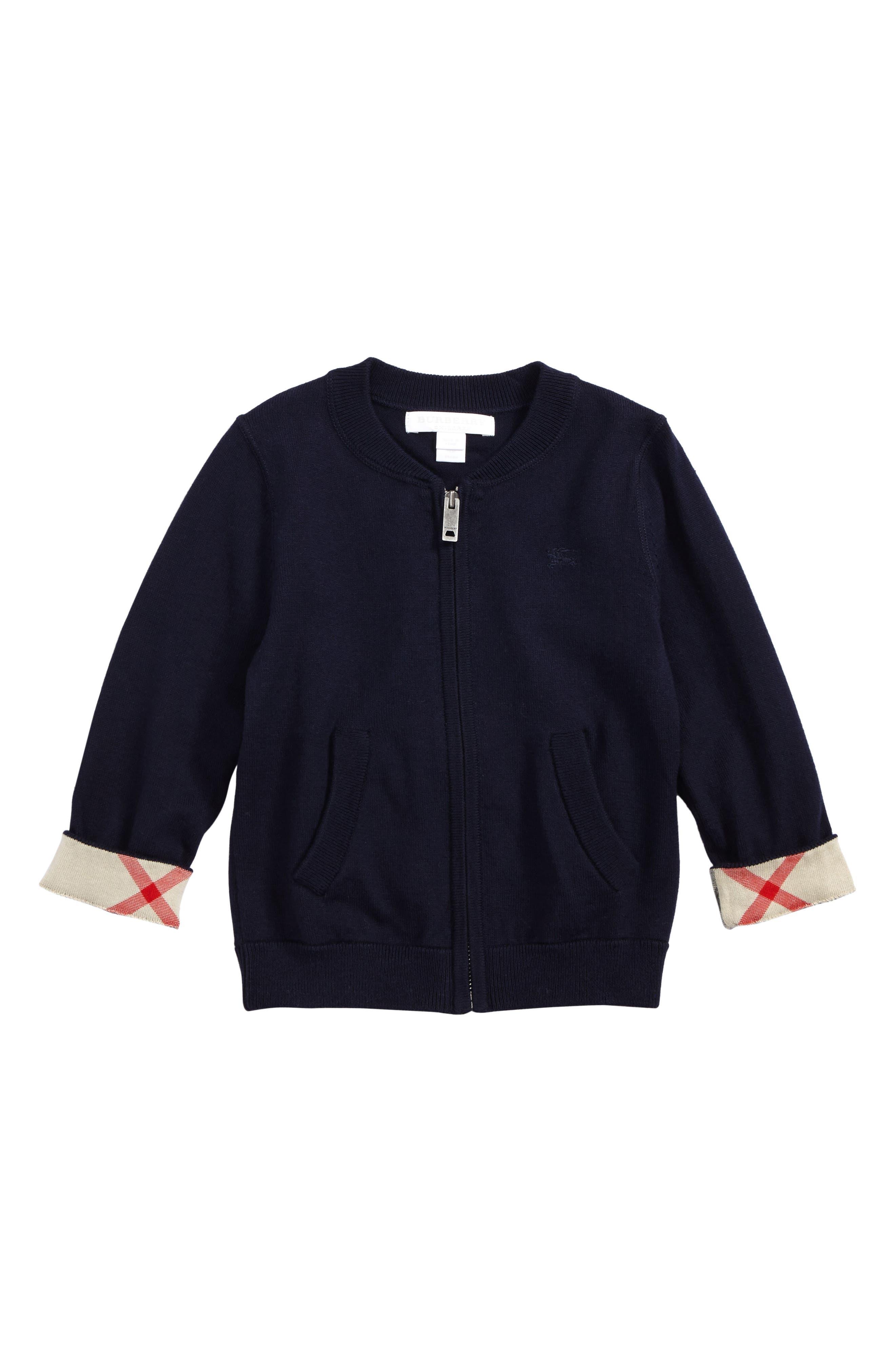 Mini Jaxson Front Zip Cotton Cardigan,                             Main thumbnail 1, color,                             410