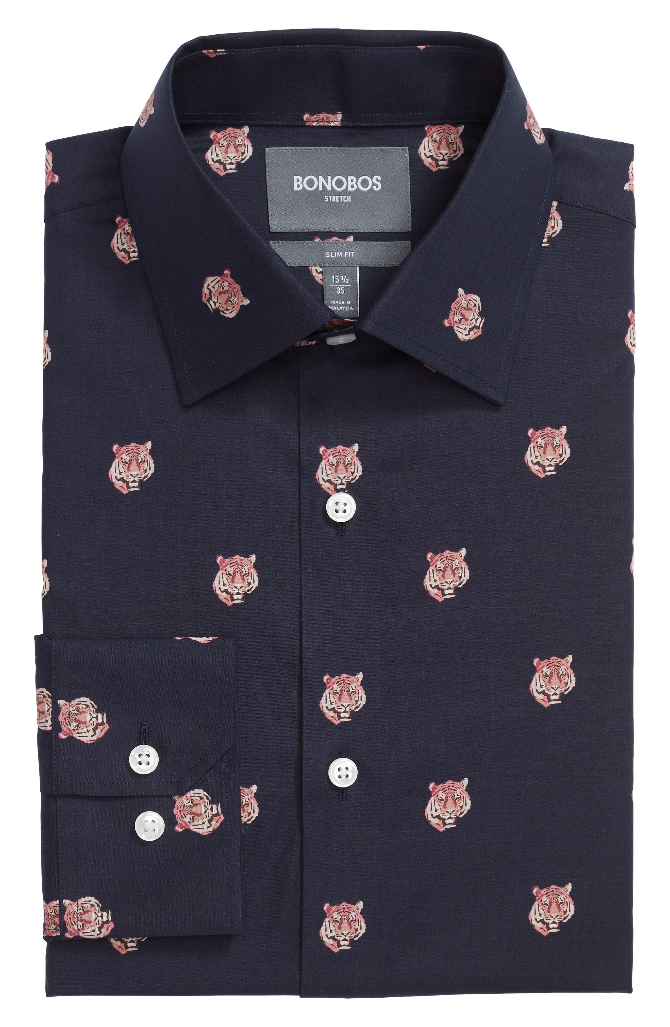 Tiger Head Slim Fit Stretch Print Dress Shirt,                             Main thumbnail 1, color,                             NIGHT SHADOW