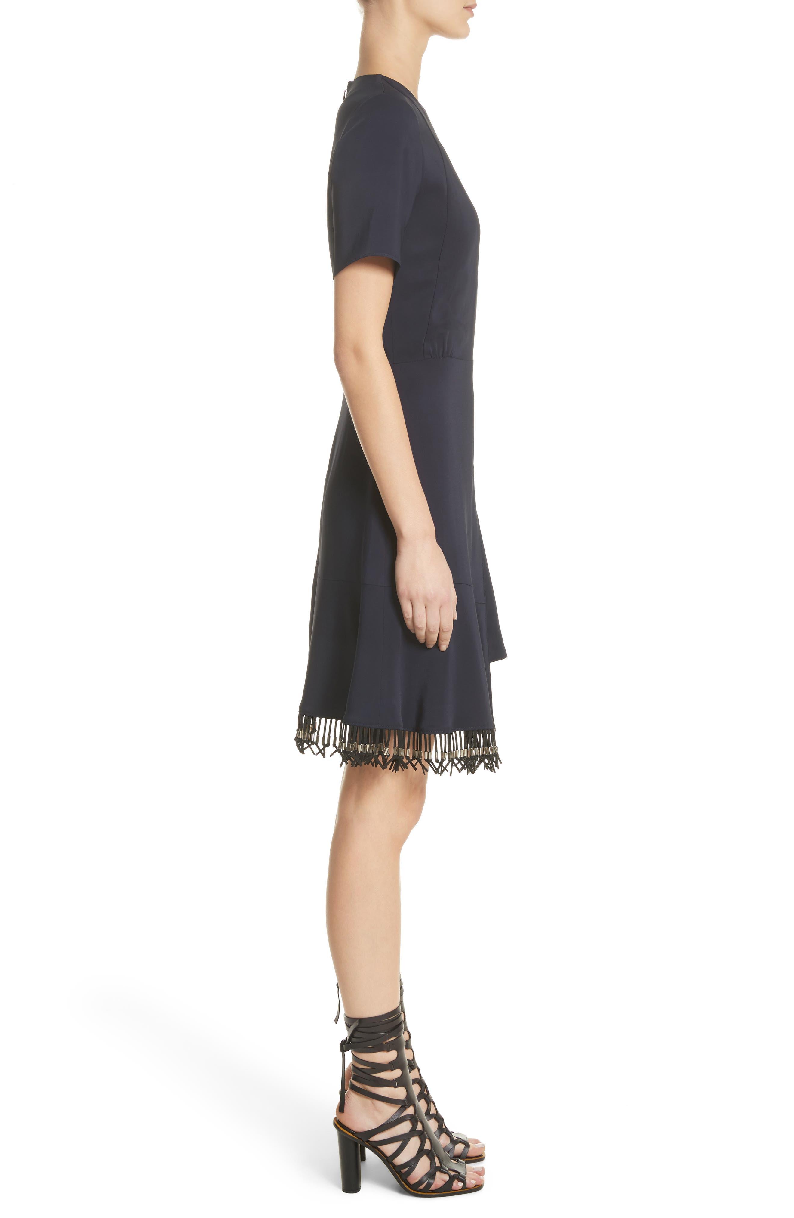 Asymmetrical Fringe Hem Dress,                             Alternate thumbnail 3, color,                             400