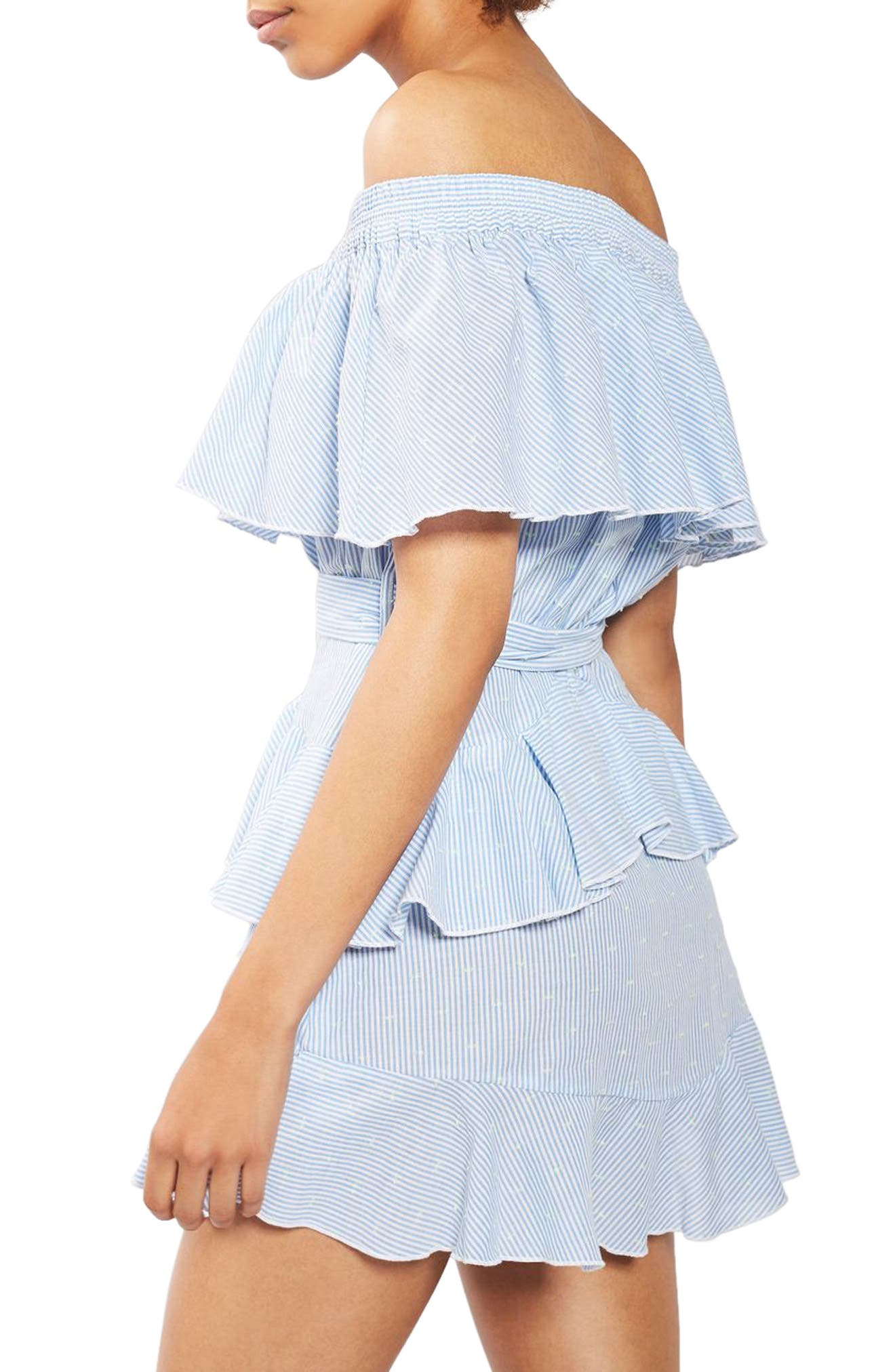 TOPSHOP,                             Bardot Ruffle Stripe Dress,                             Alternate thumbnail 2, color,                             450