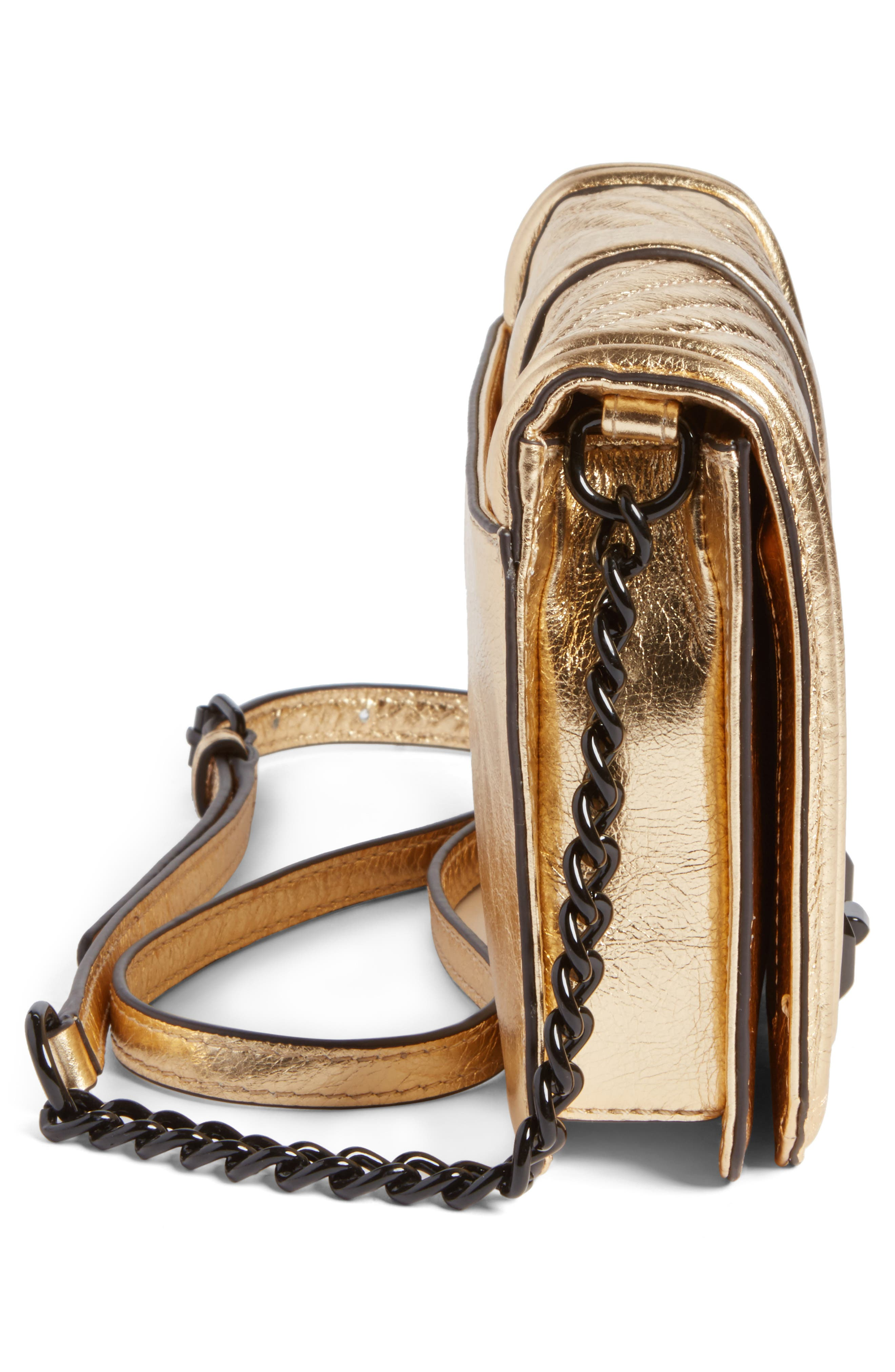 Small Love Metallic Leather Crossbody Bag,                             Alternate thumbnail 5, color,                             710