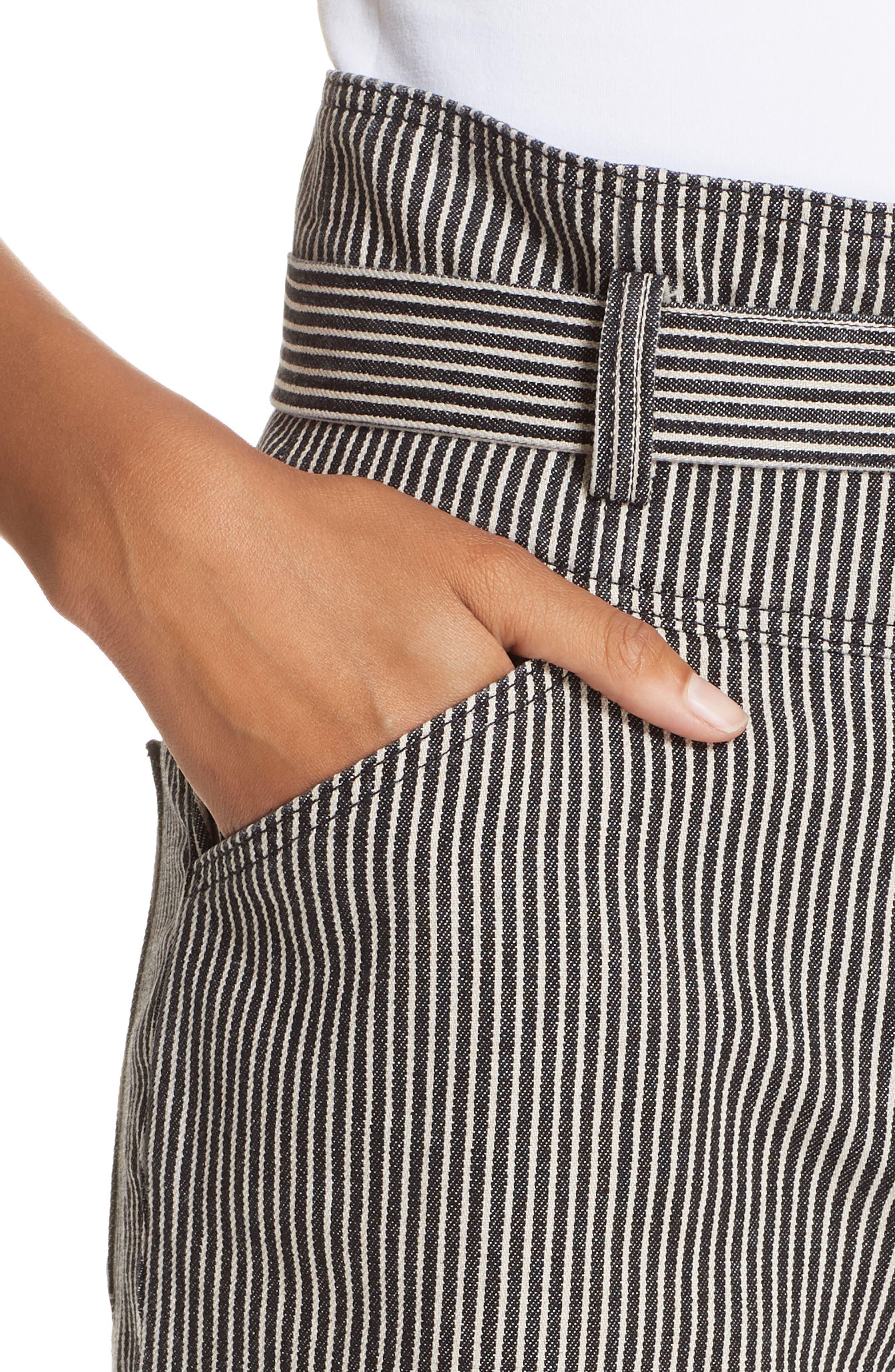 Stripe Crop Pants,                             Alternate thumbnail 4, color,                             001