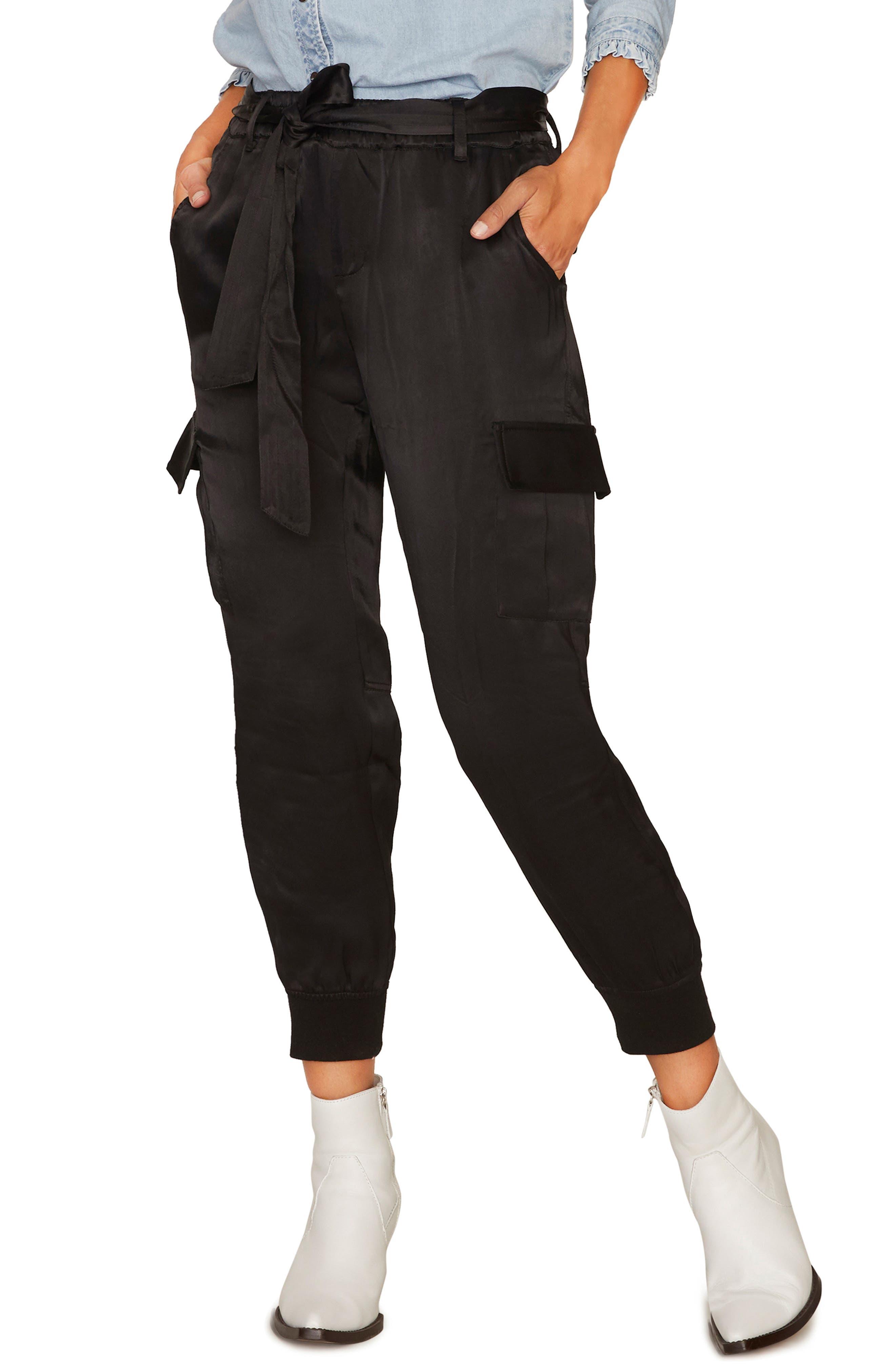 Precious Cargo Satin Jogger Pants, Main, color, 001