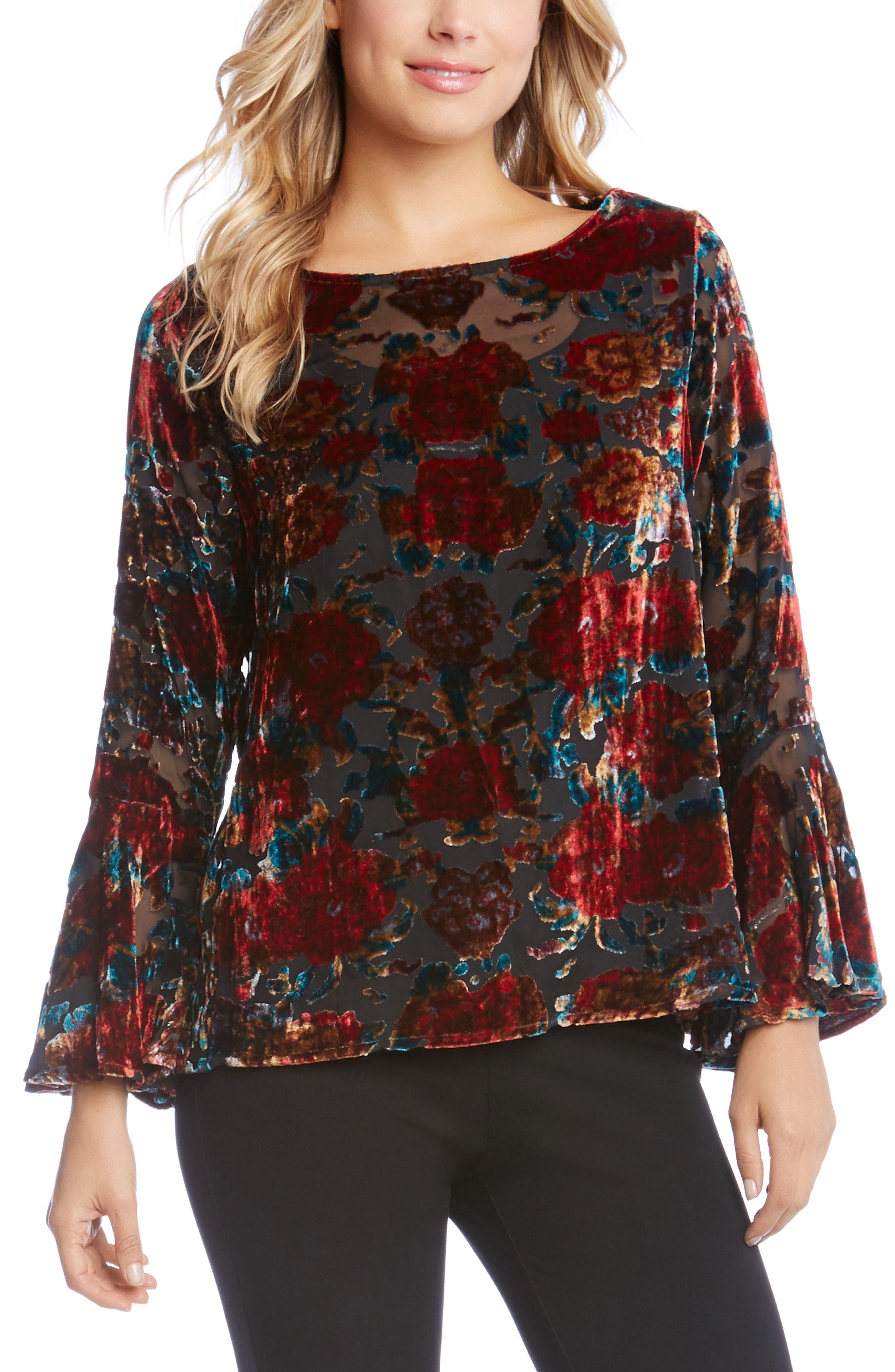 Floral Bell Sleeve Velvet Top,                             Main thumbnail 1, color,                             003