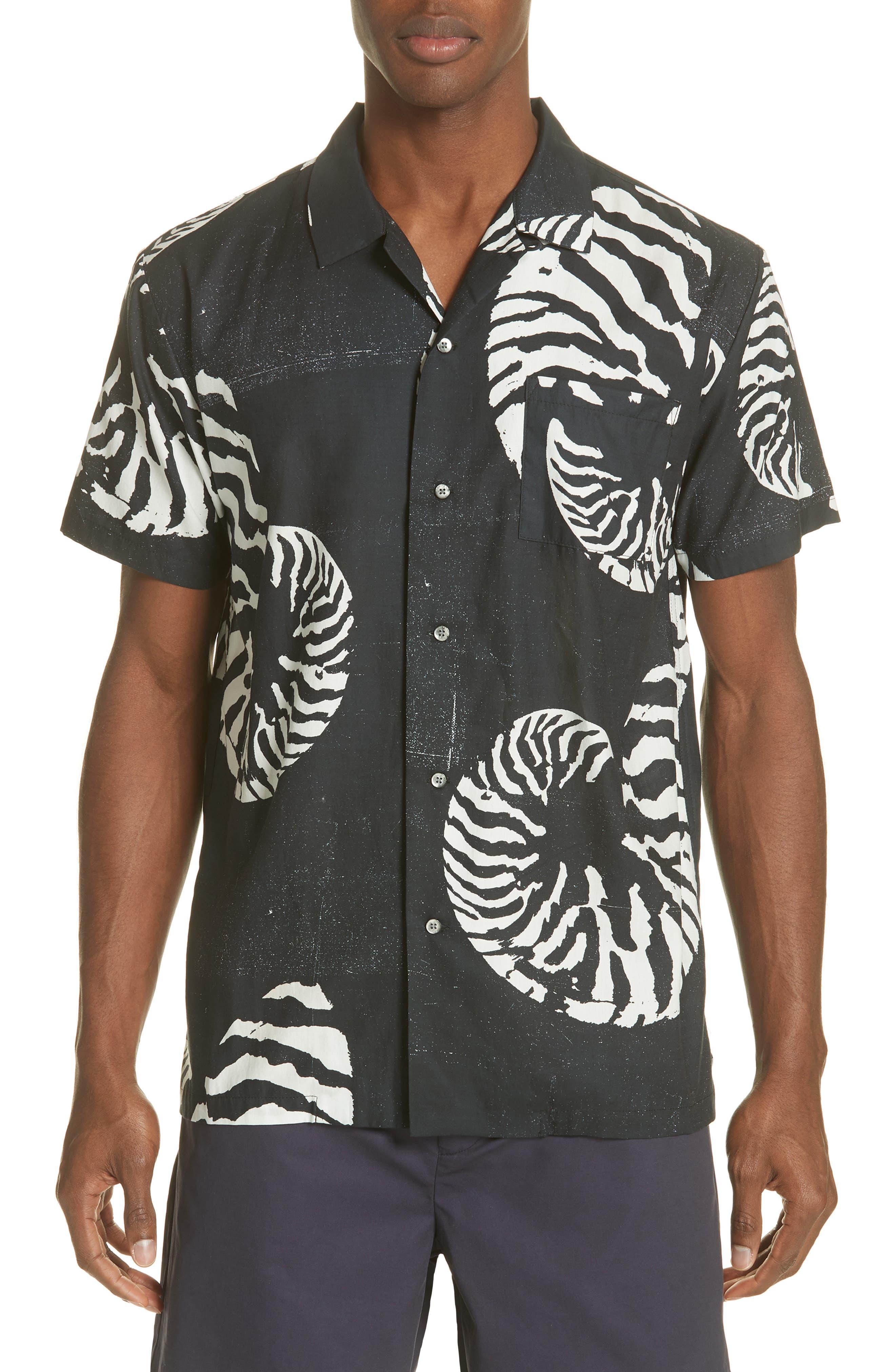 Beach House Print Camp Shirt,                             Main thumbnail 1, color,                             WHITE