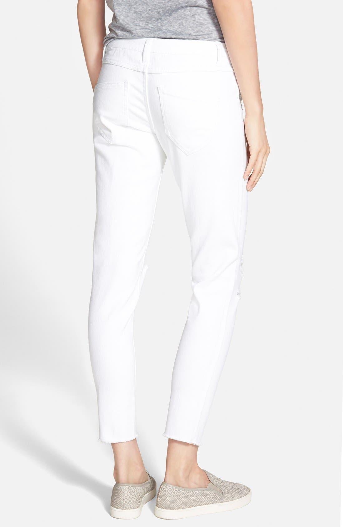 Frayed Skinny Jeans,                             Alternate thumbnail 3, color,                             100