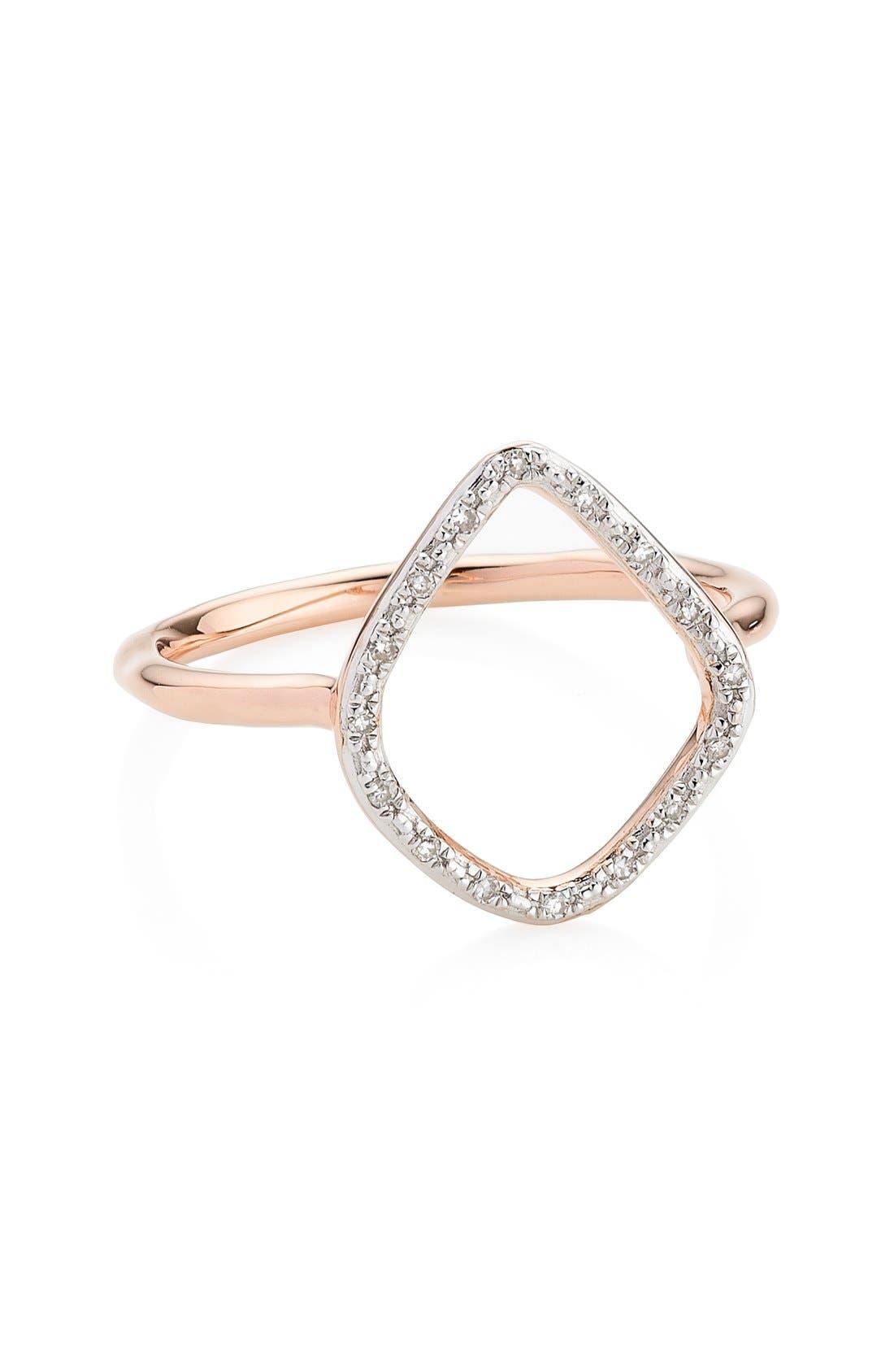'Riva' Diamond Hoop Ring,                             Alternate thumbnail 7, color,                             ROSE GOLD