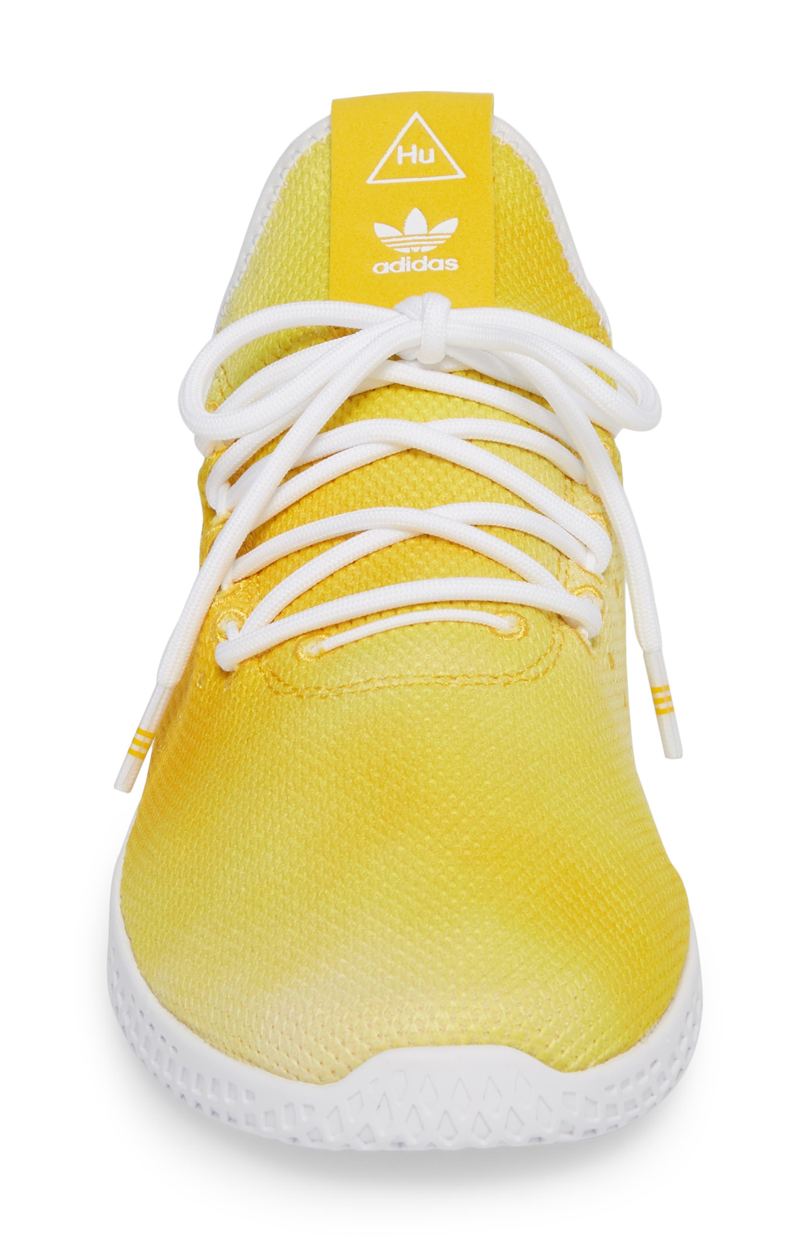 Pharrell Williams Tennis Hu Sneaker,                             Alternate thumbnail 4, color,                             YELLOW/ WHITE