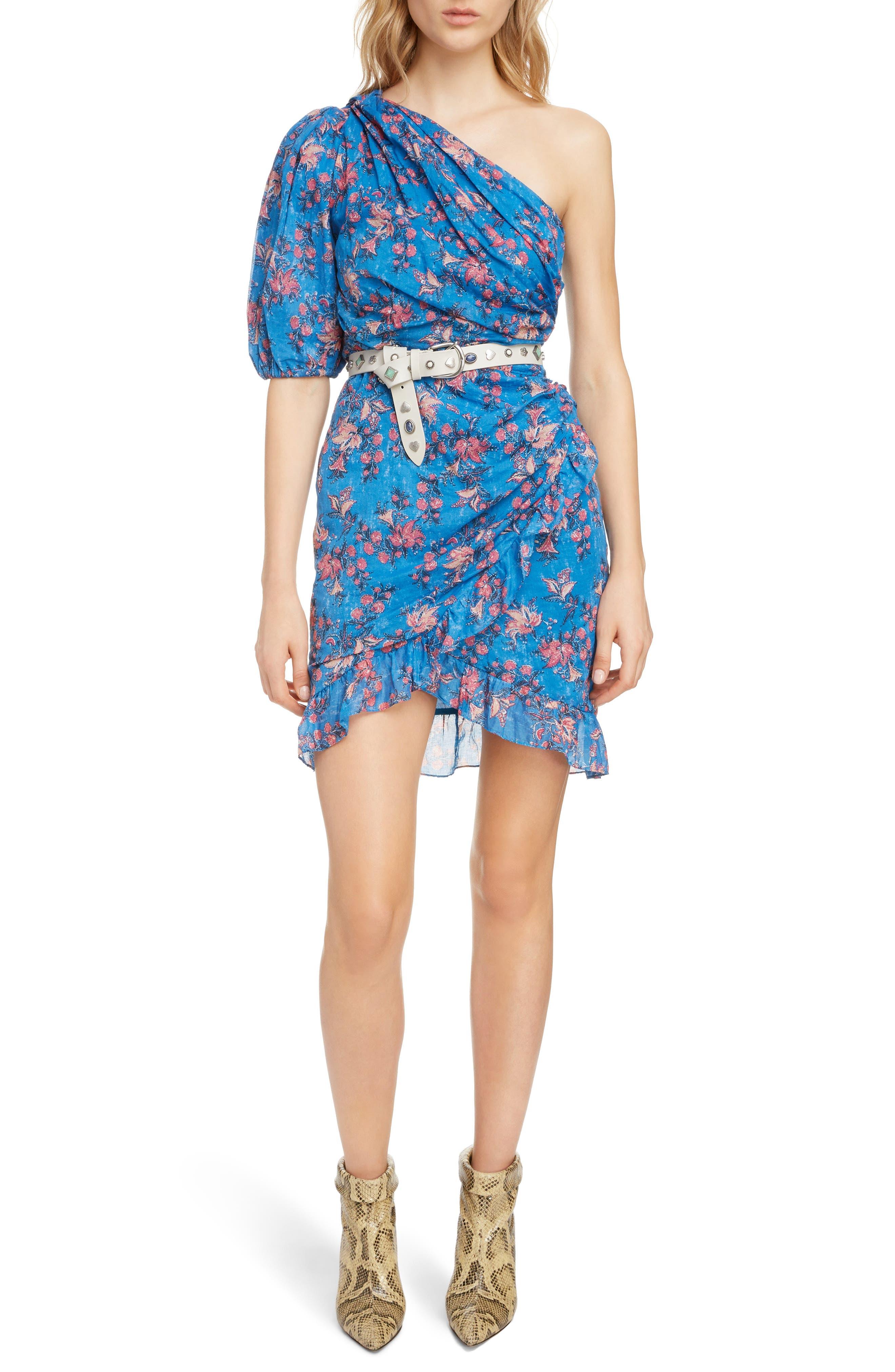 ISABEL MARANT ÉTOILE Esther One-Shoulder Dress, Main, color, BLUE