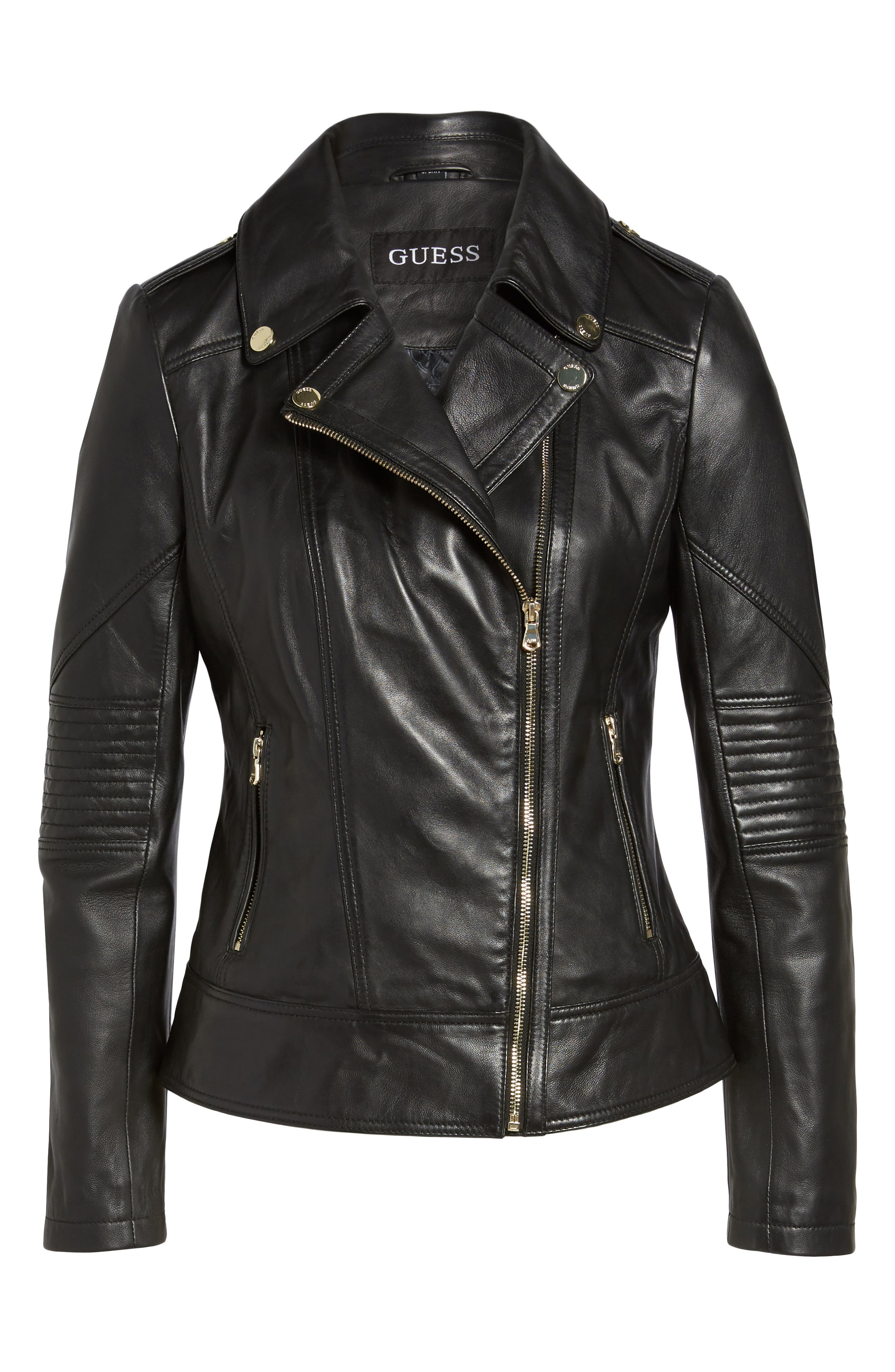 Leather Moto Jacket,                             Alternate thumbnail 9, color,