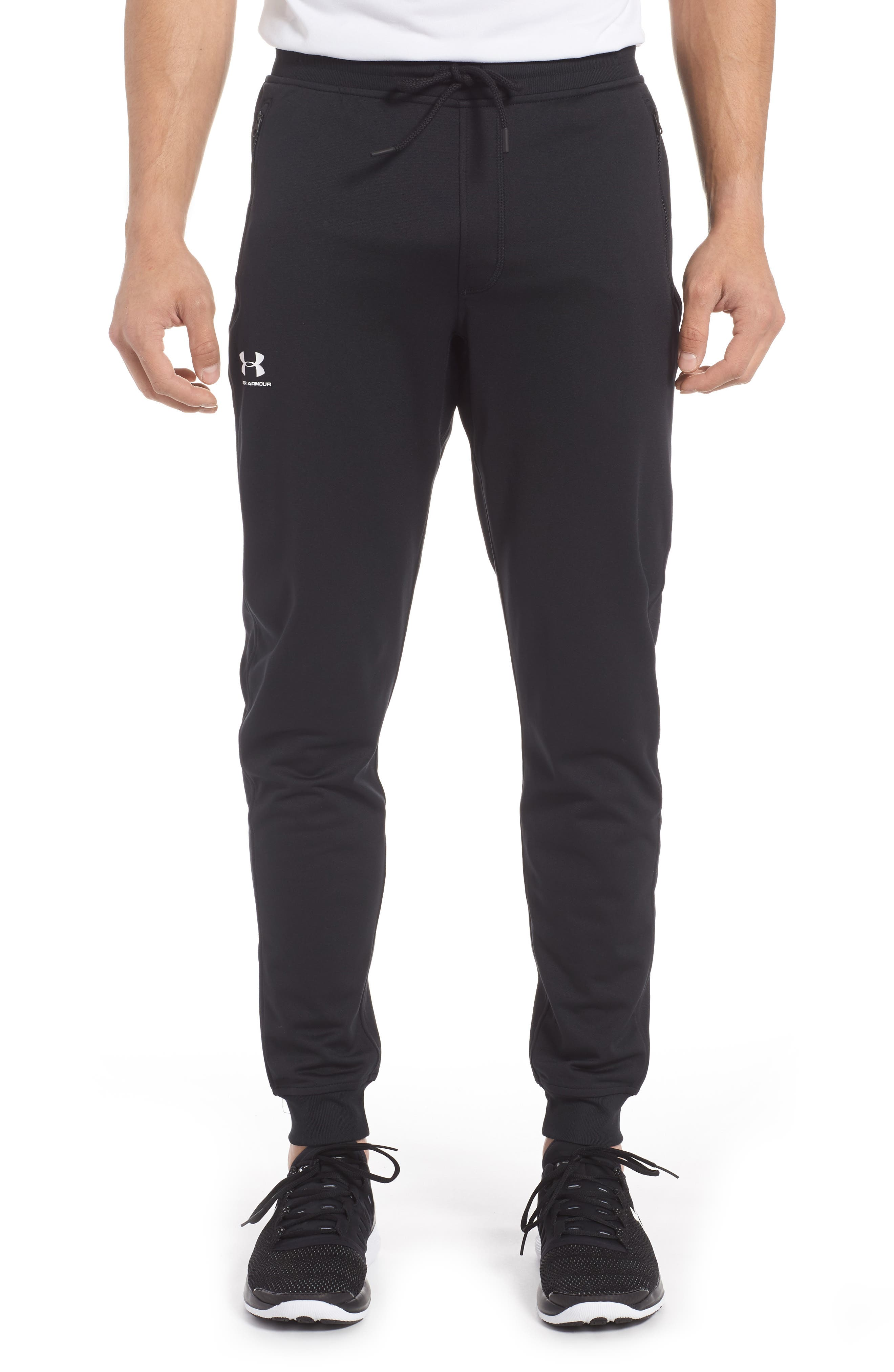 Sportstyle Knit Jogger Pants,                             Main thumbnail 1, color,                             BLACK/ WHITE