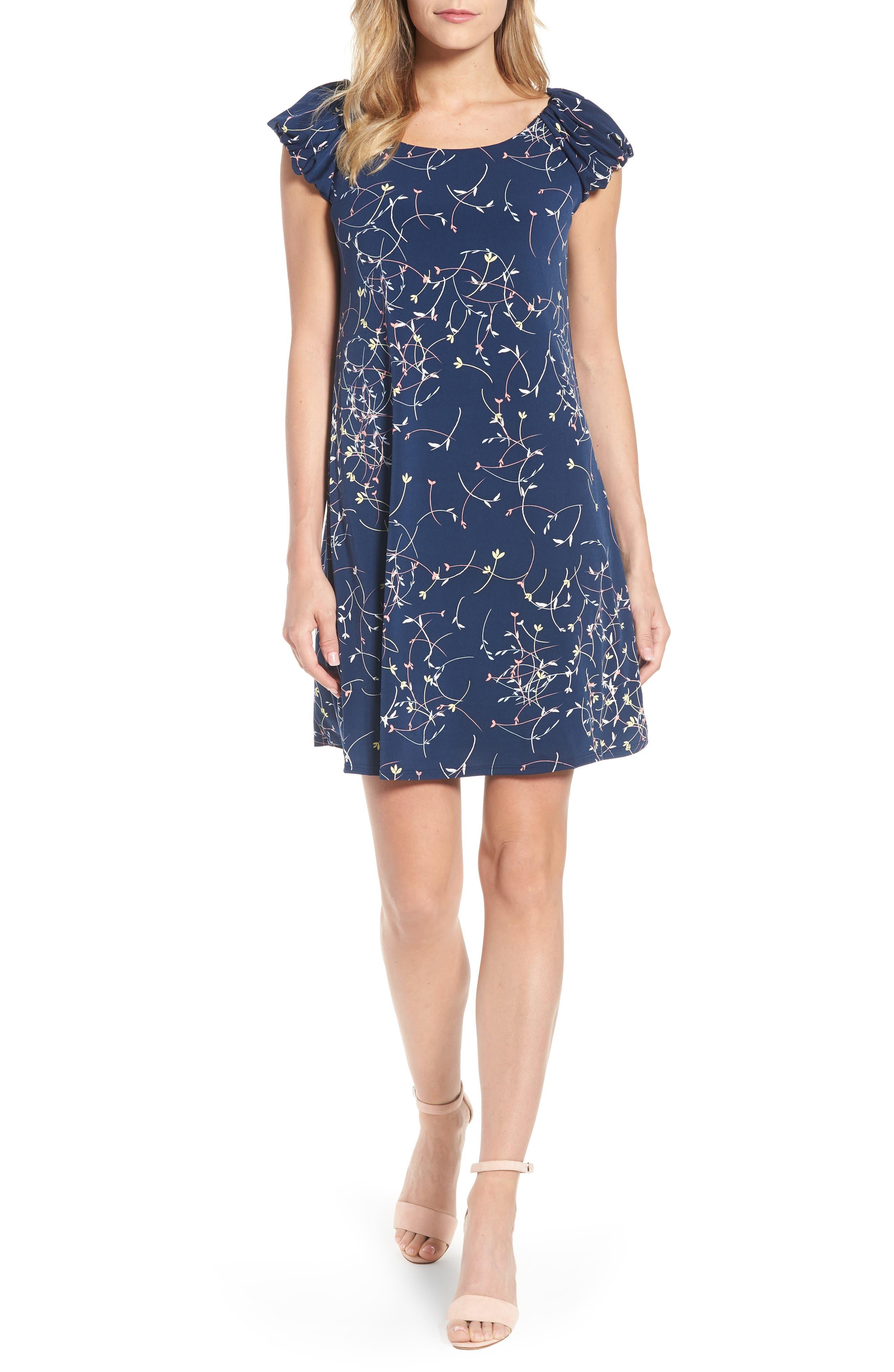 Ditsy Swirls Puffed Sleeve Dress,                             Main thumbnail 1, color,                             429