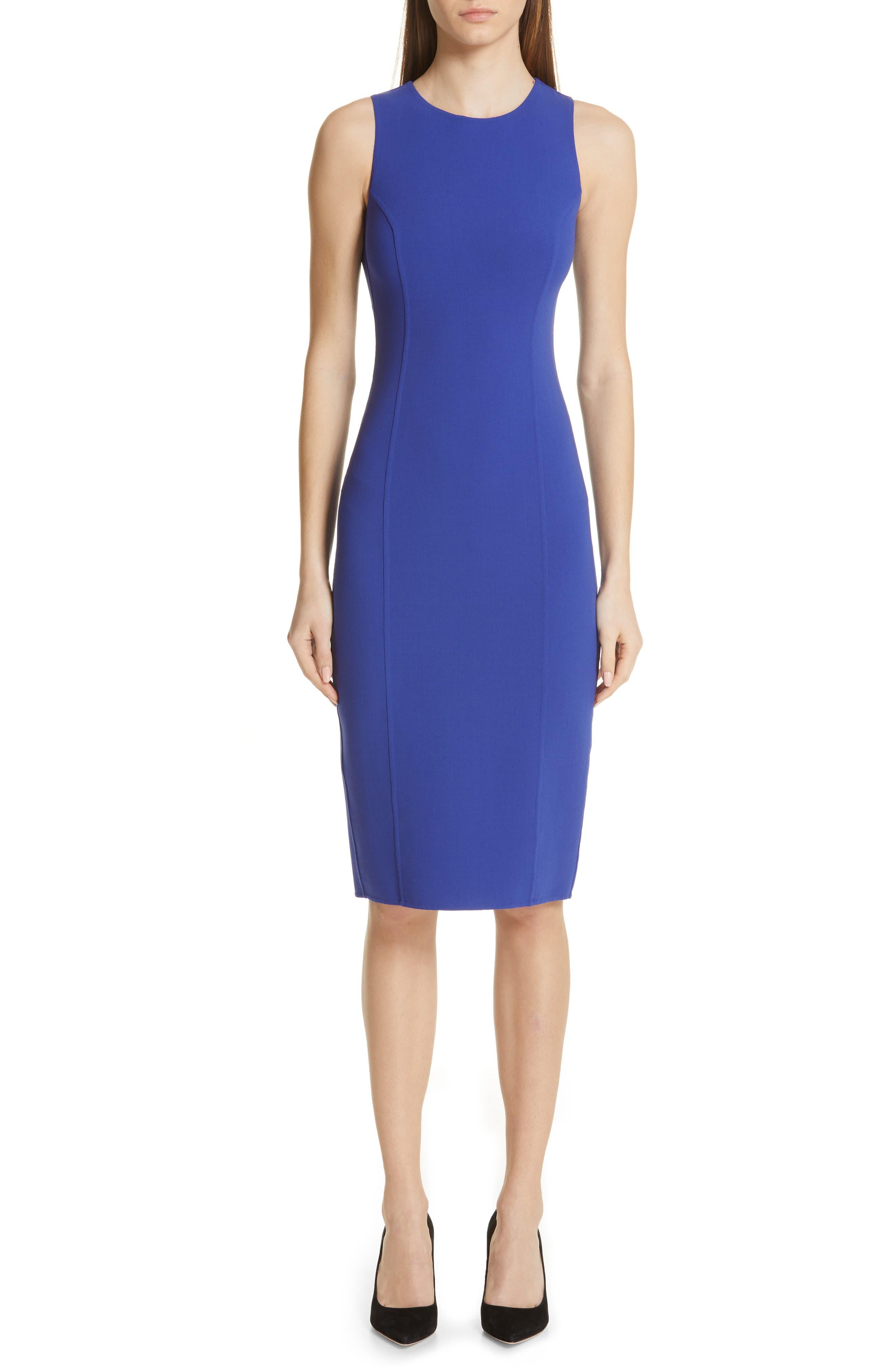 Michael Kors Stretch Wool Crepe Sheath Dress, Blue
