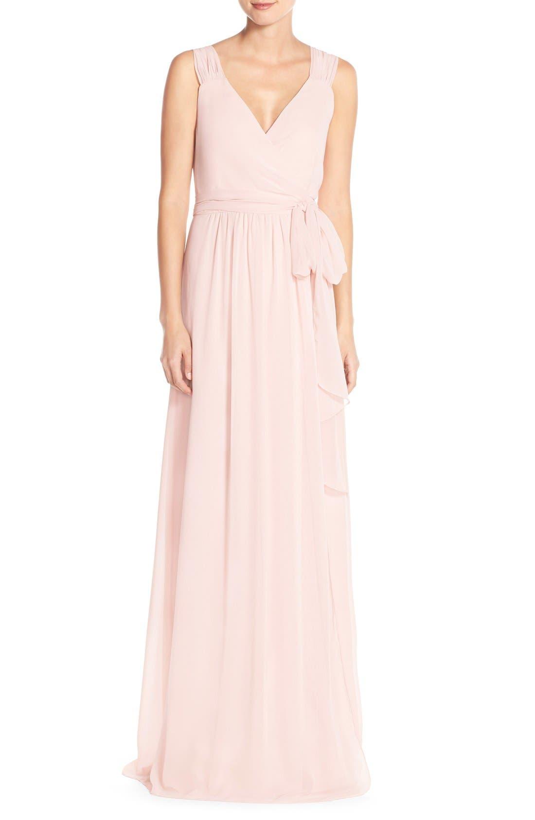 Newbury Gathered Sleeve Chiffon Wrap Gown,                             Main thumbnail 9, color,
