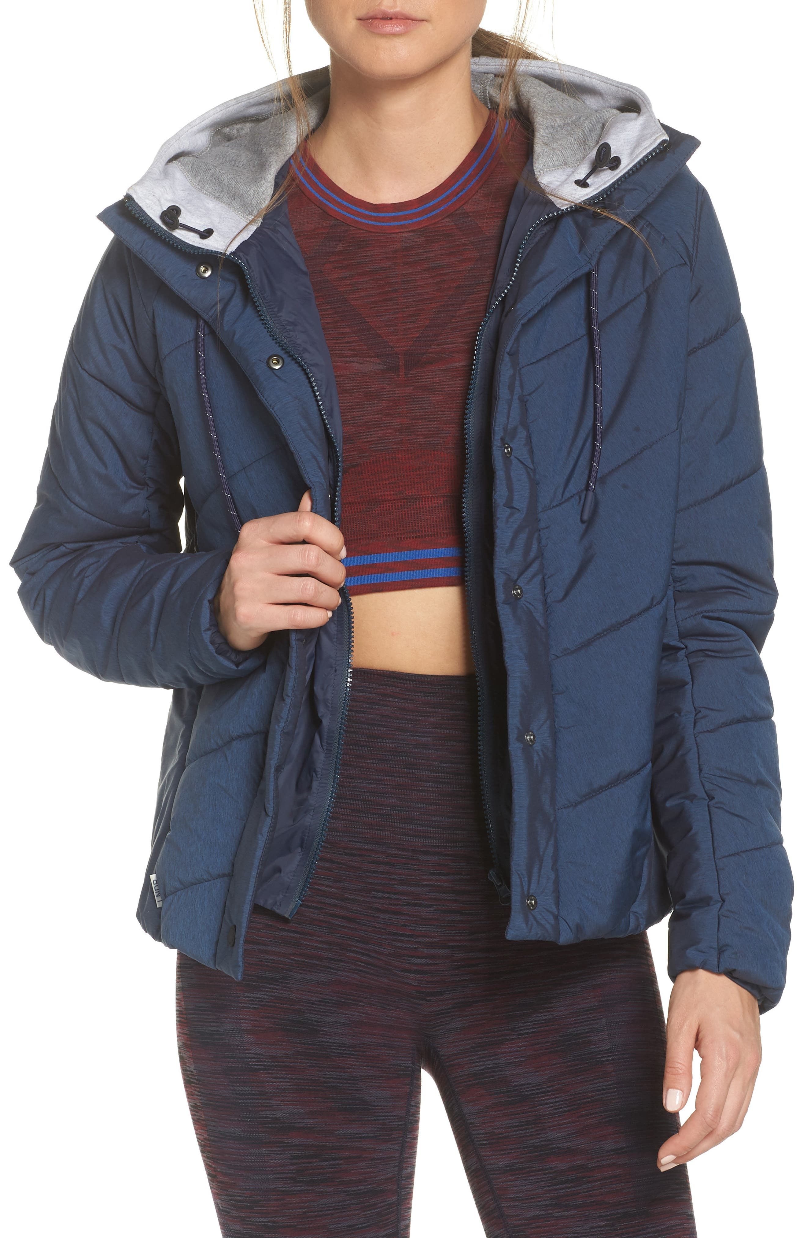 Toast Water Repellent Hooded Jacket,                             Main thumbnail 1, color,                             NAVY MARL