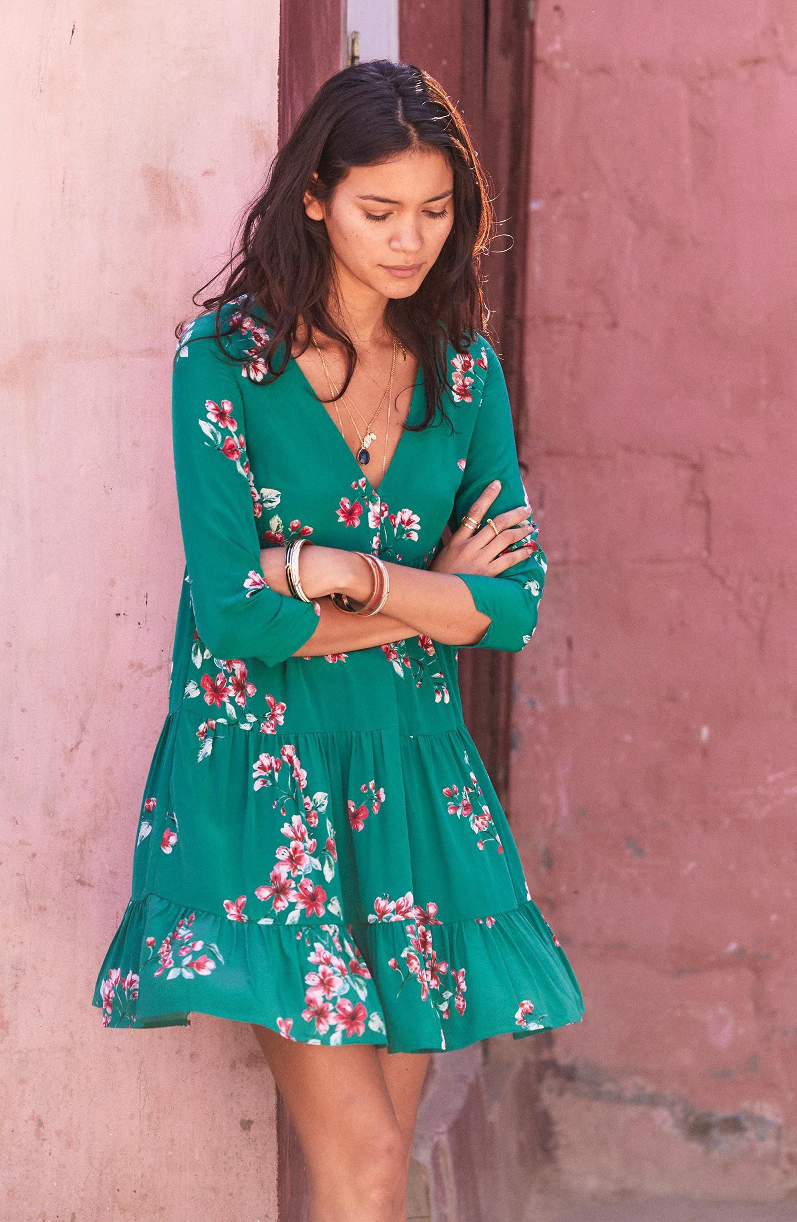 Aure Silk A-Line Dress,                             Alternate thumbnail 23, color,