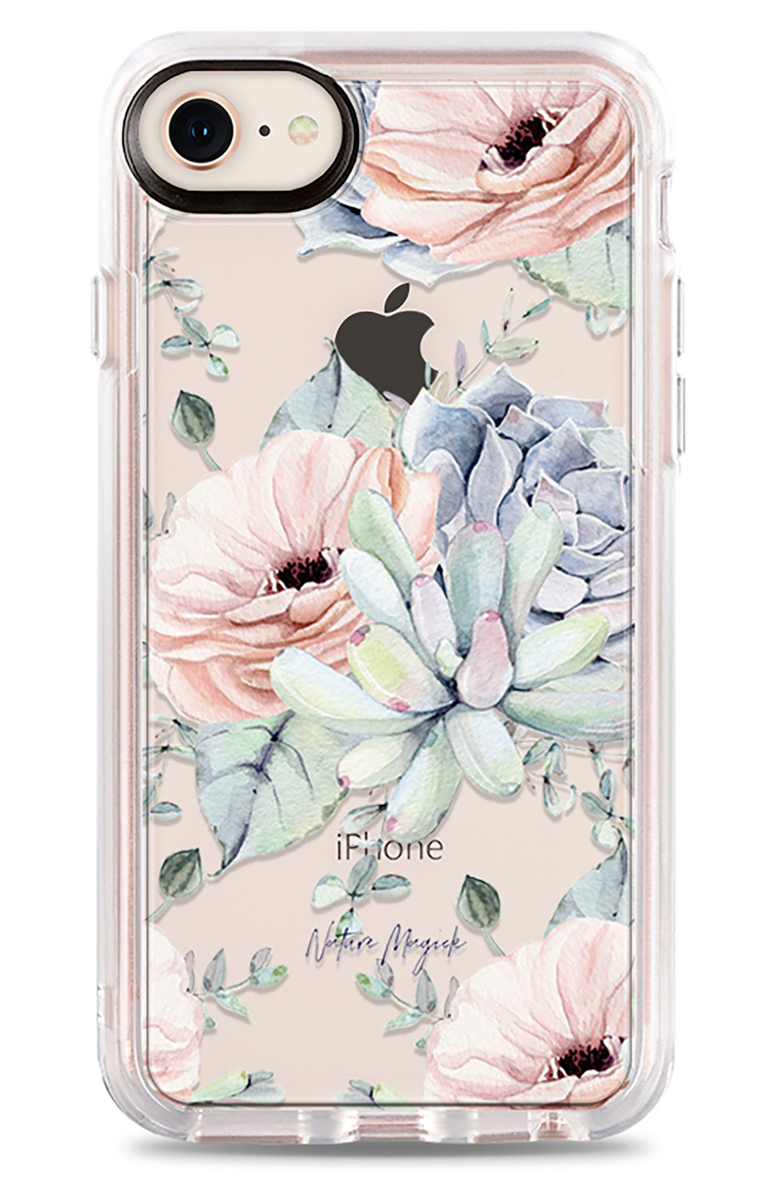 Pretty Succulents iPhone 7/8 & 7/8 Plus Case,                             Main thumbnail 1, color,                             CLEAR MULTI