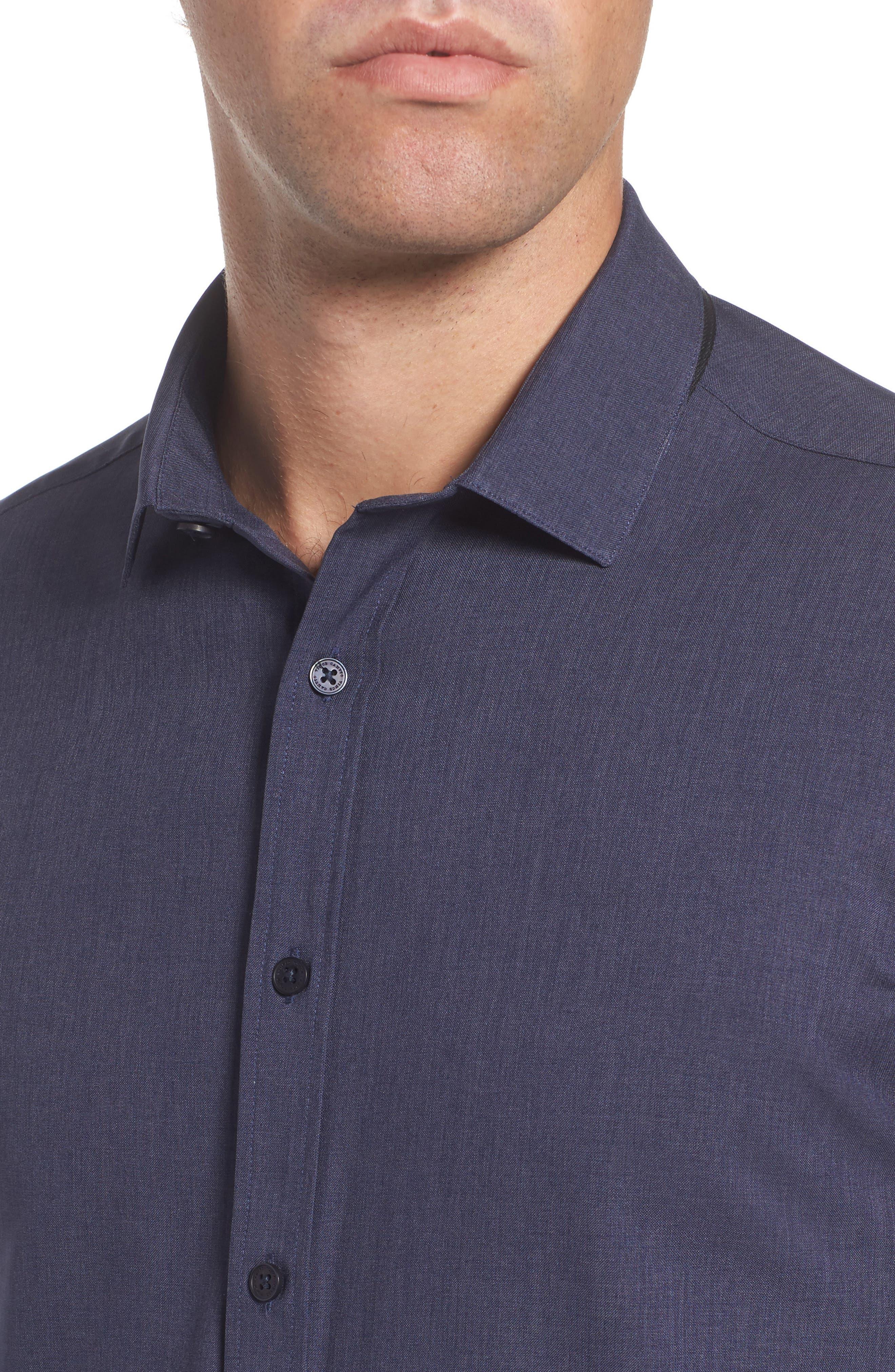 Trim Fit Performance Knit Sport Shirt,                             Alternate thumbnail 4, color,                             NAVY