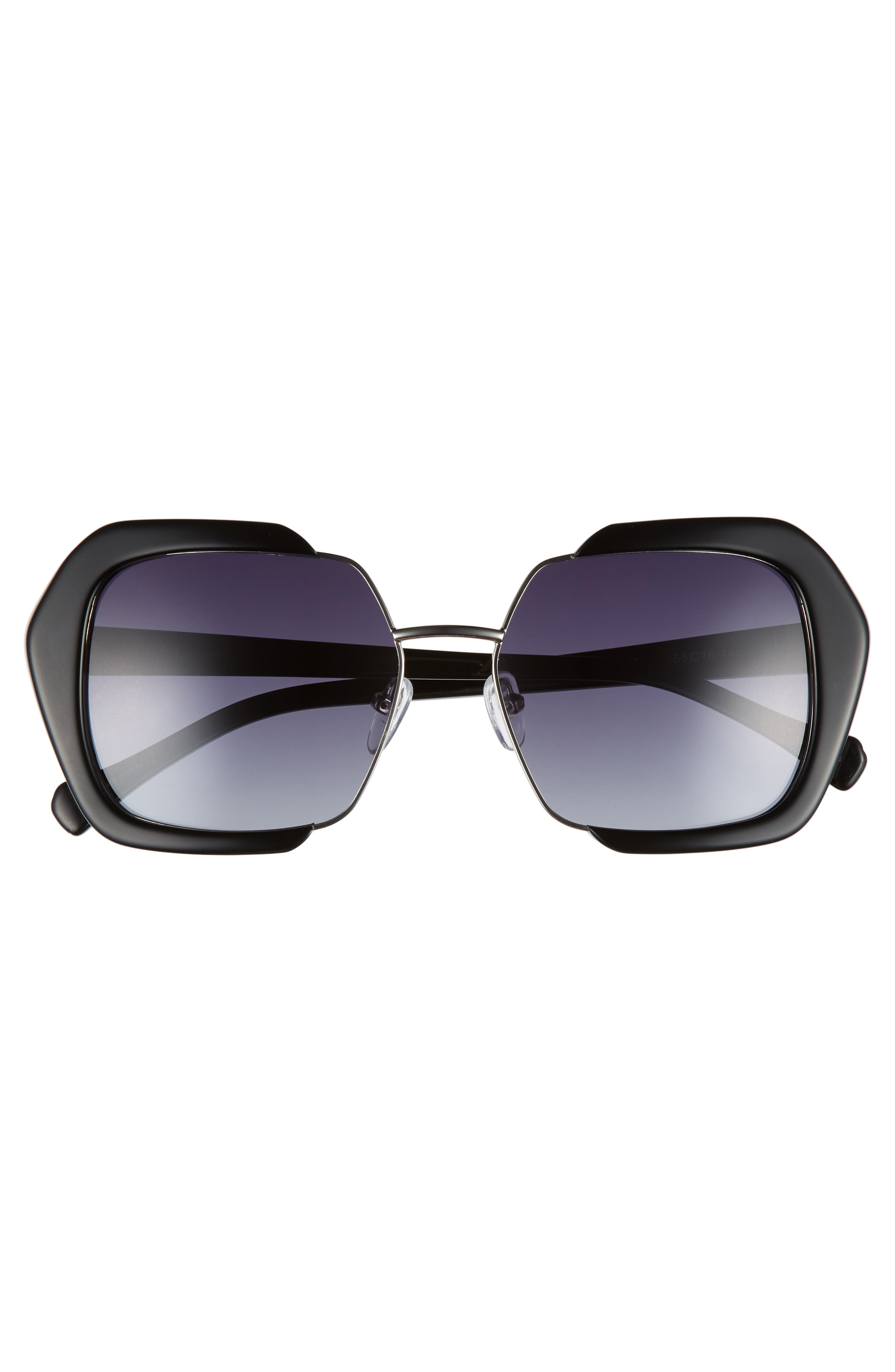 Isleen 55mm Polarized Sunglasses,                             Alternate thumbnail 3, color,                             BLACK POLAR
