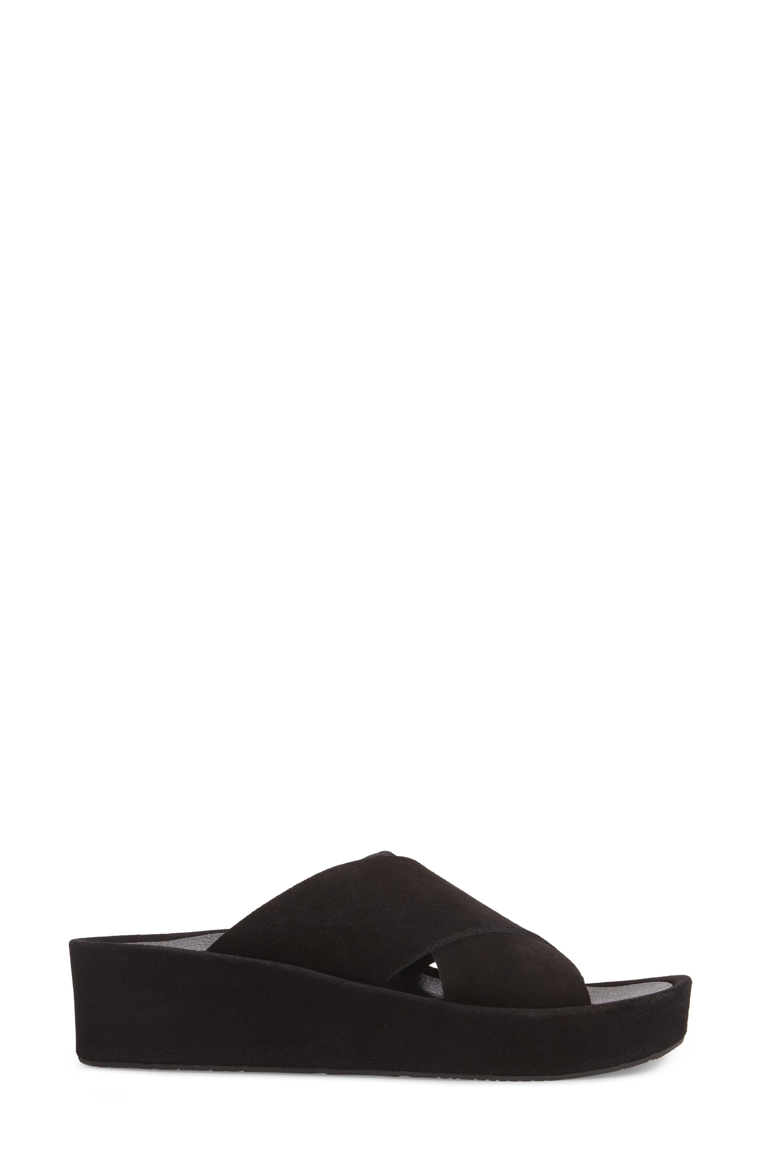 Lucca Platform Slide Sandal,                             Alternate thumbnail 3, color,                             BLACK