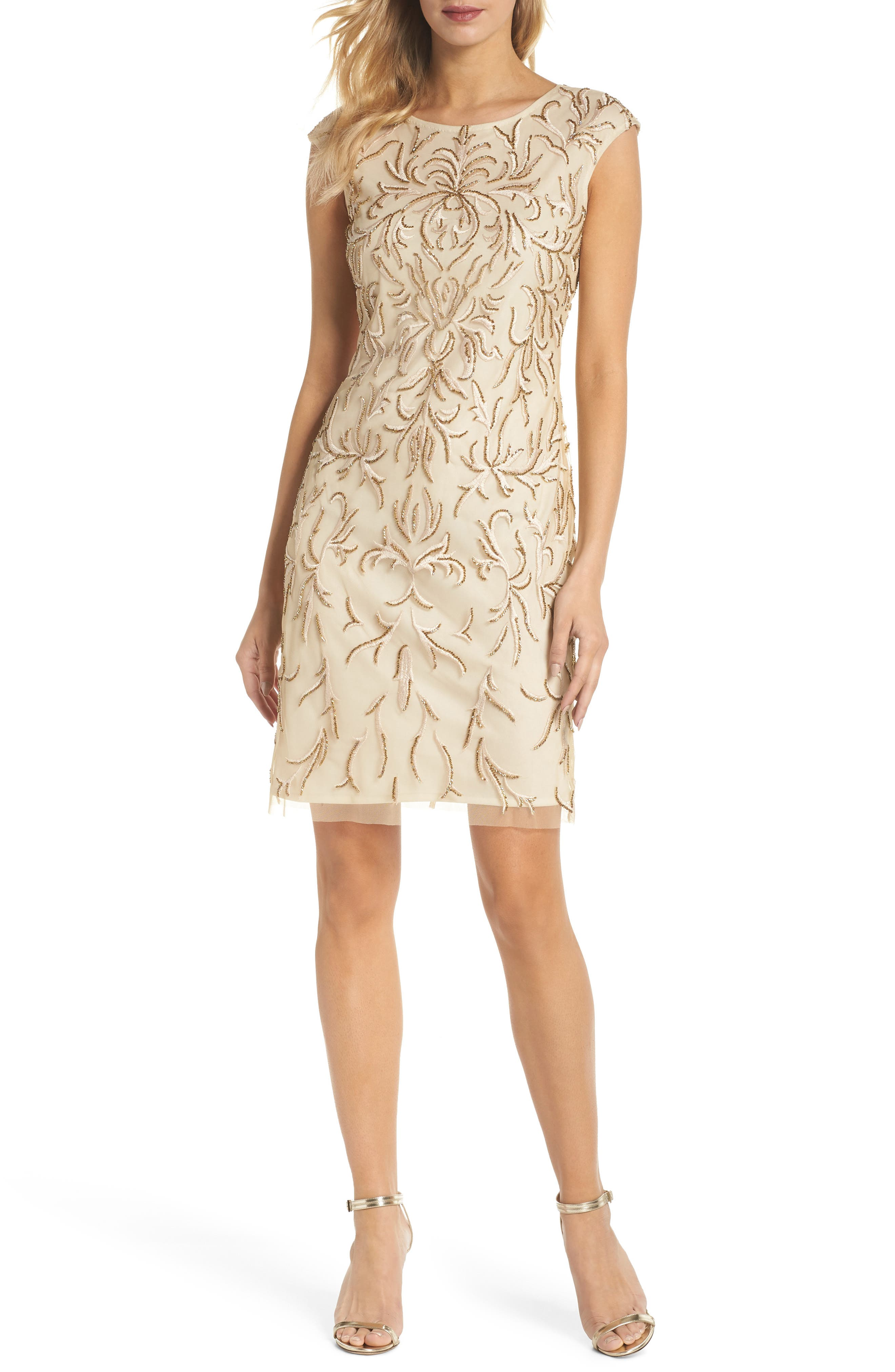 Beaded & Embroidered Cocktail Dress,                             Main thumbnail 1, color,                             CHAMPAGNE