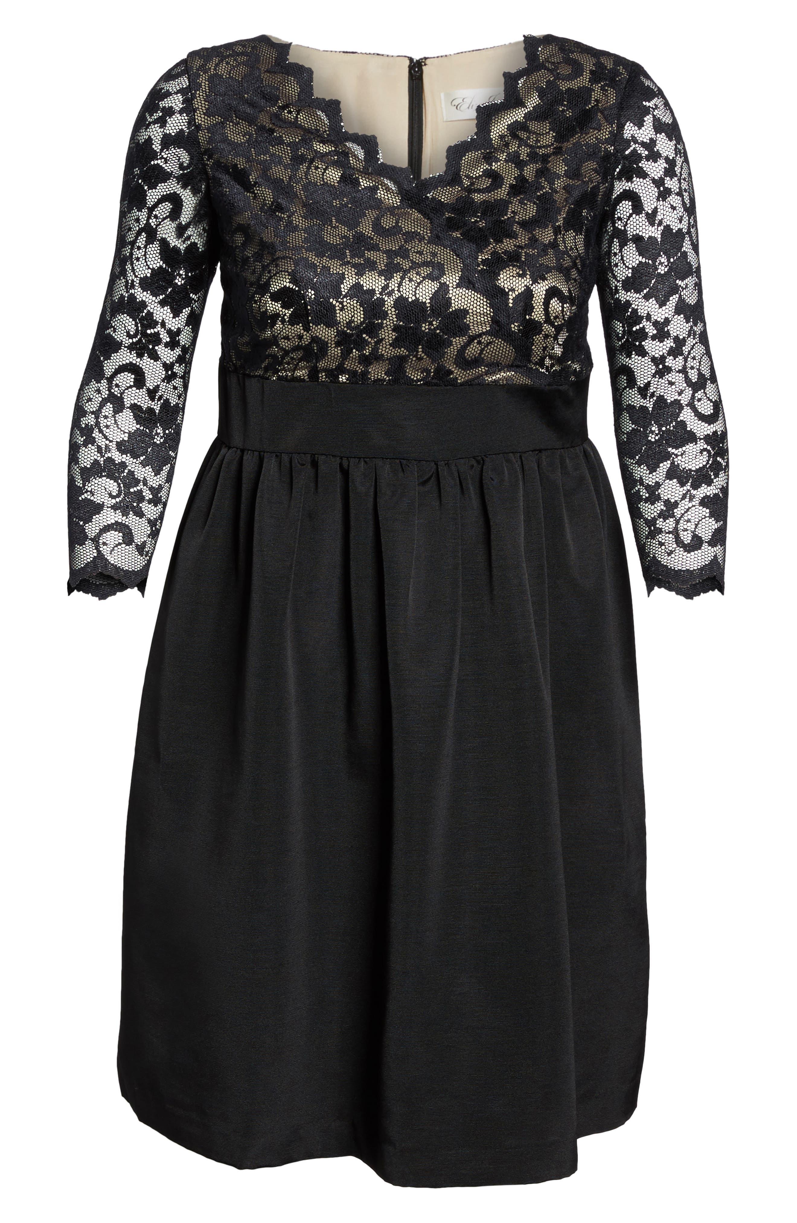 Lace & Faille Dress,                             Alternate thumbnail 13, color,