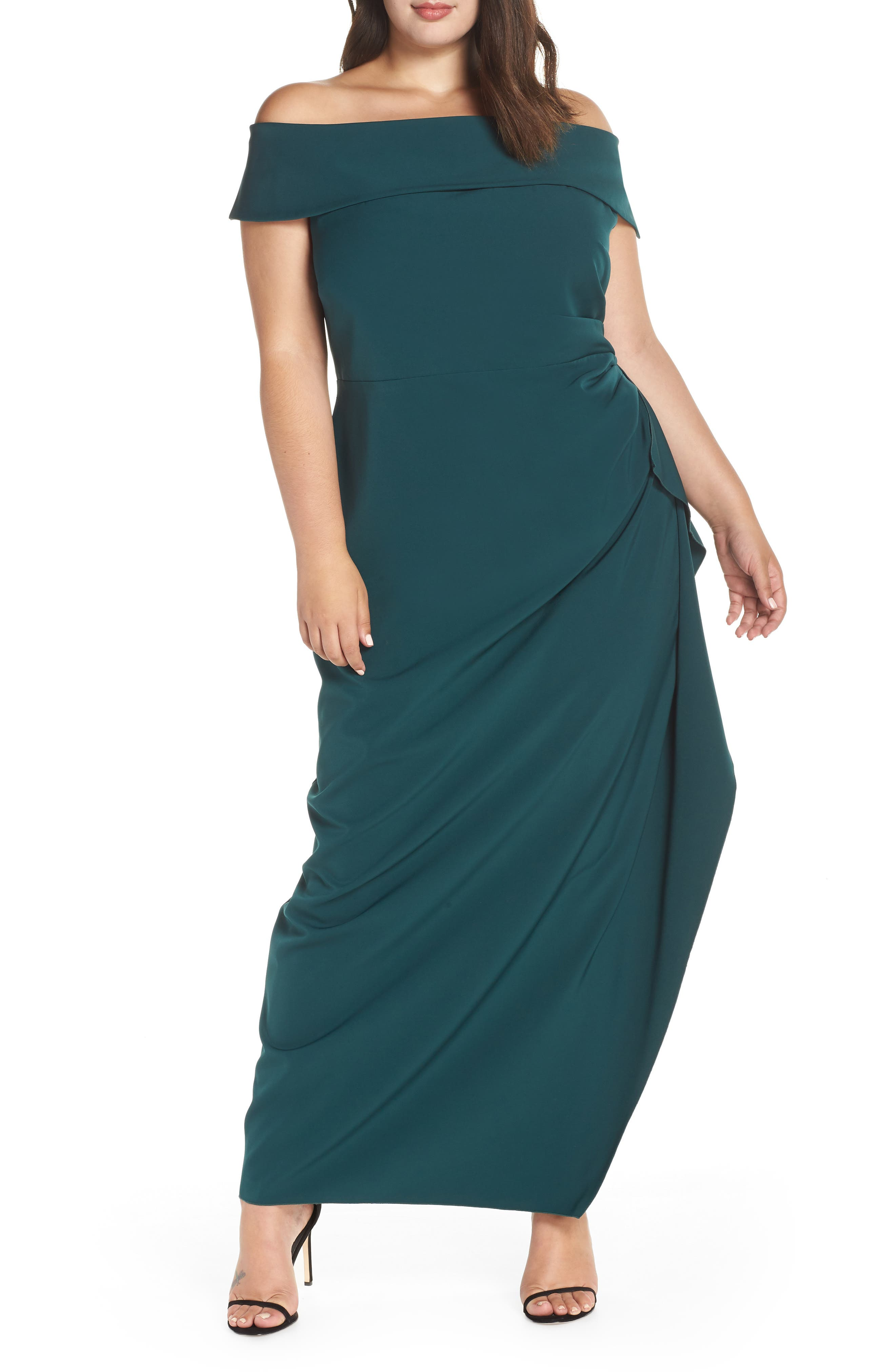 Side Ruched Off the Shoulder Gown,                             Main thumbnail 1, color,                             HUNTER