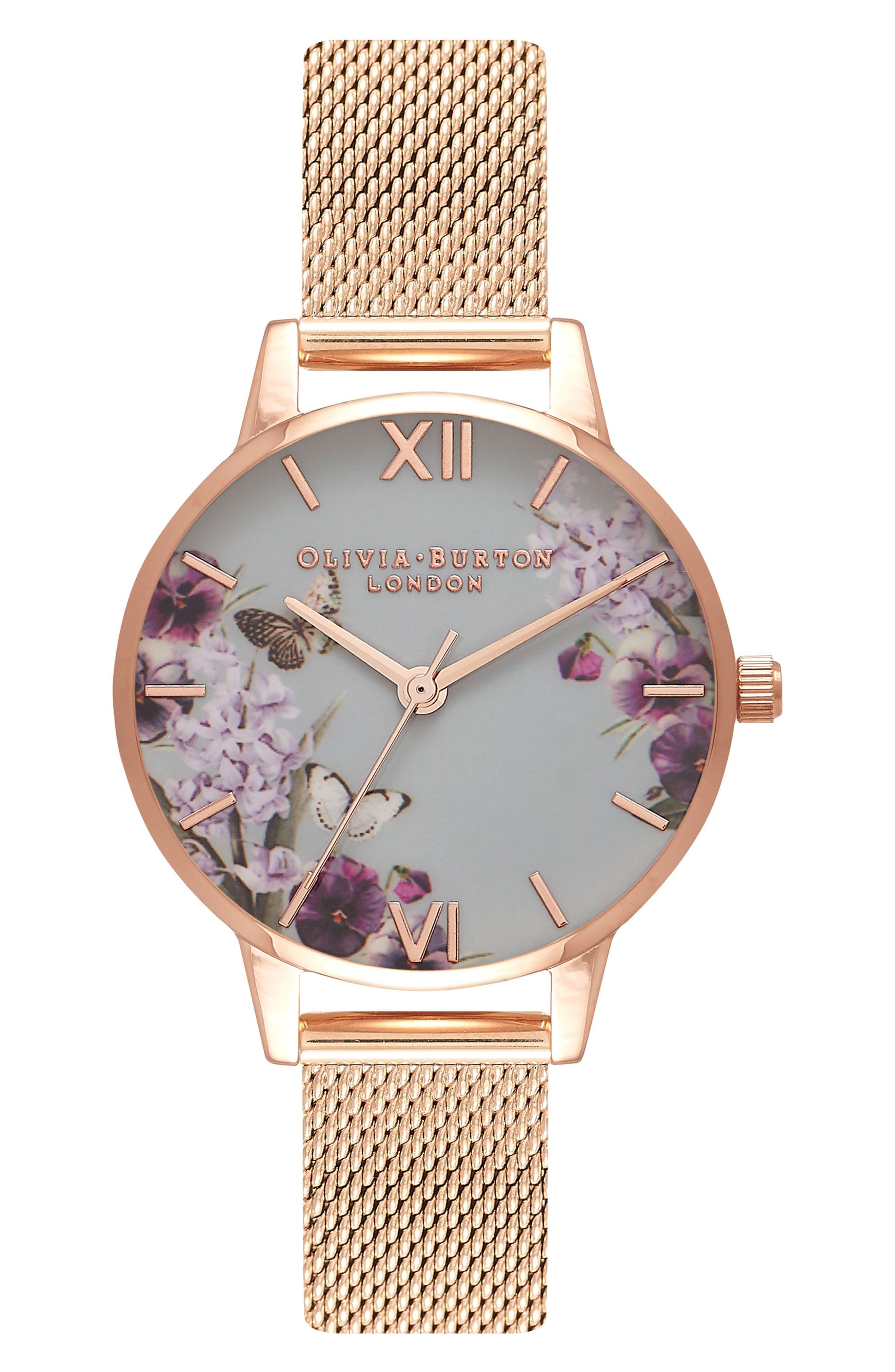 OLIVIA BURTON,                             Enchanted Garden Mesh Strap Watch, 30mm,                             Main thumbnail 1, color,                             ROSE GOLD/ FLORAL/ ROSE GOLD