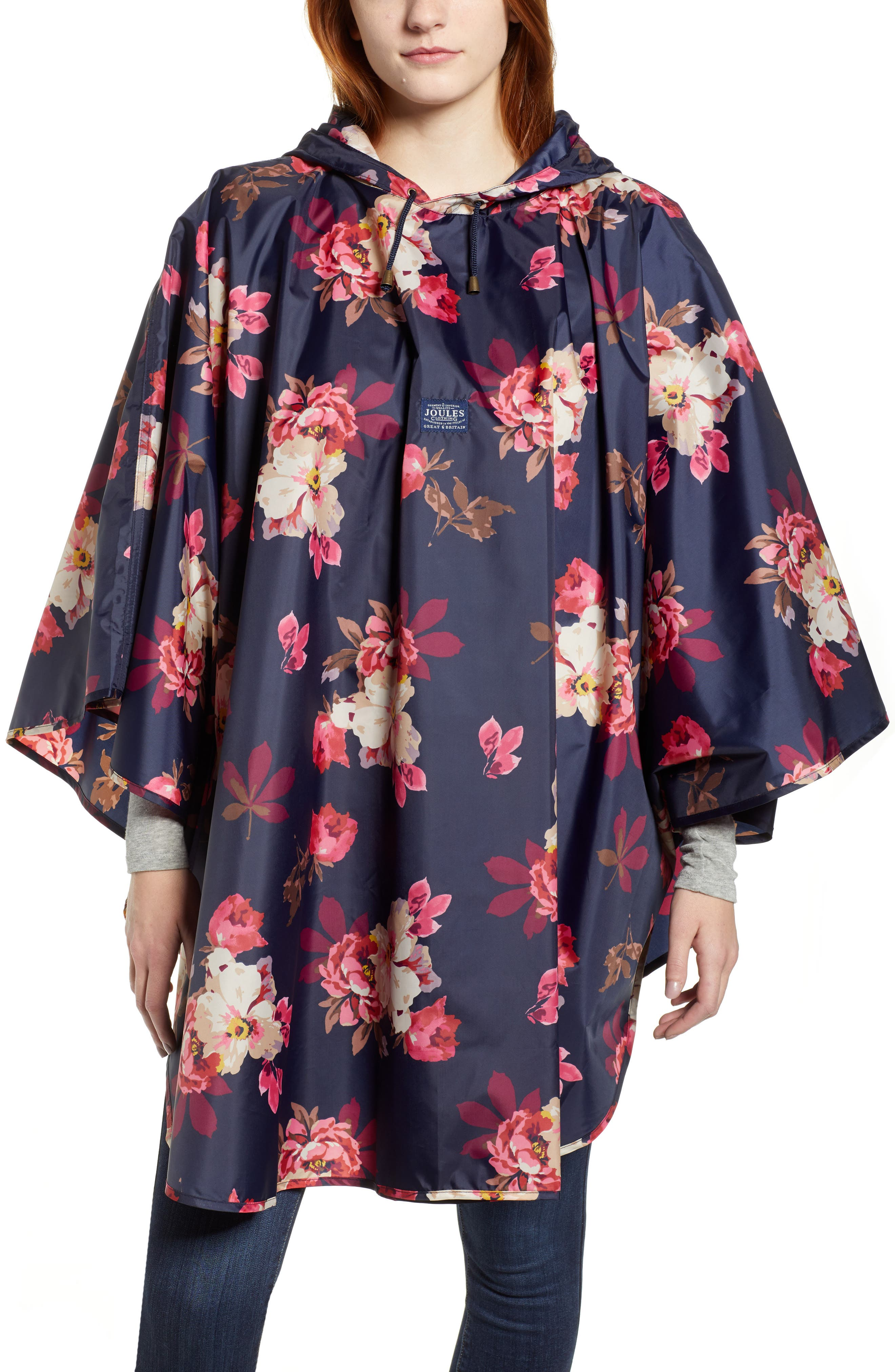 Right as Rain Print Packable Hooded Poncho,                         Main,                         color, FRENCH NAVY BIRCHAM BLOOM