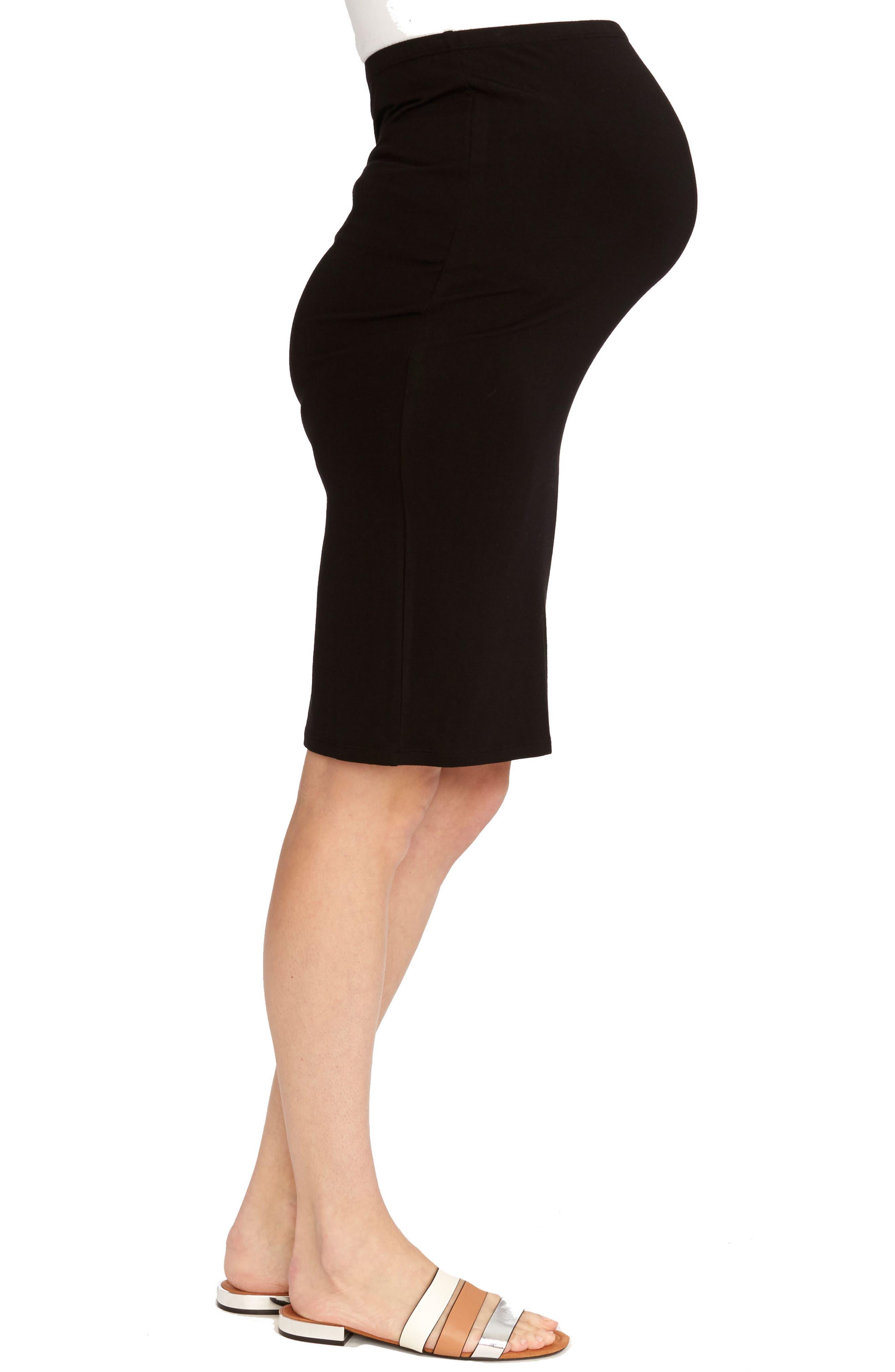 Adeline Maternity Skirt,                             Alternate thumbnail 3, color,                             BLACK