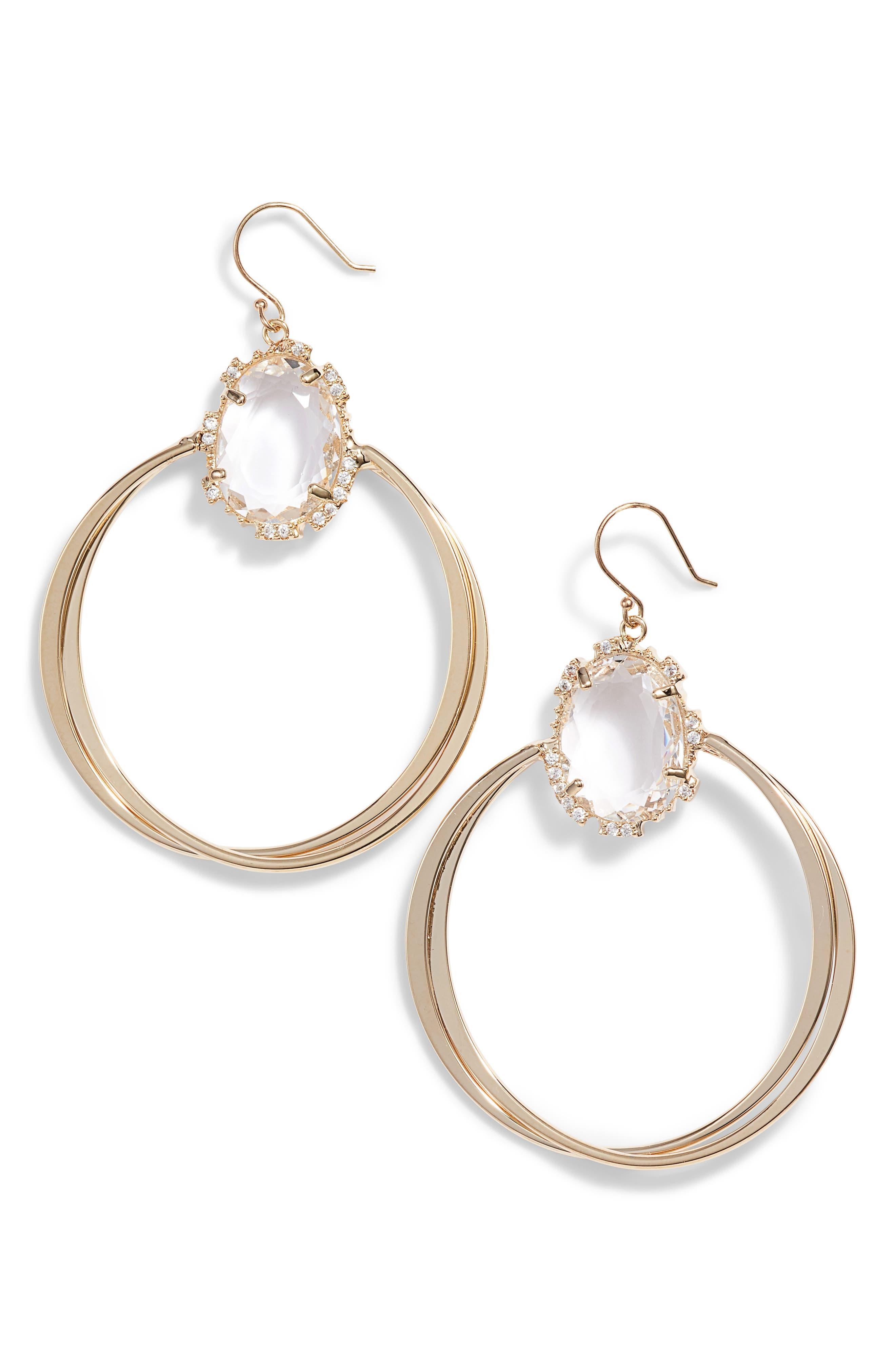 SEREFINA Crystal Hoop Earrings in Clear/ Gold