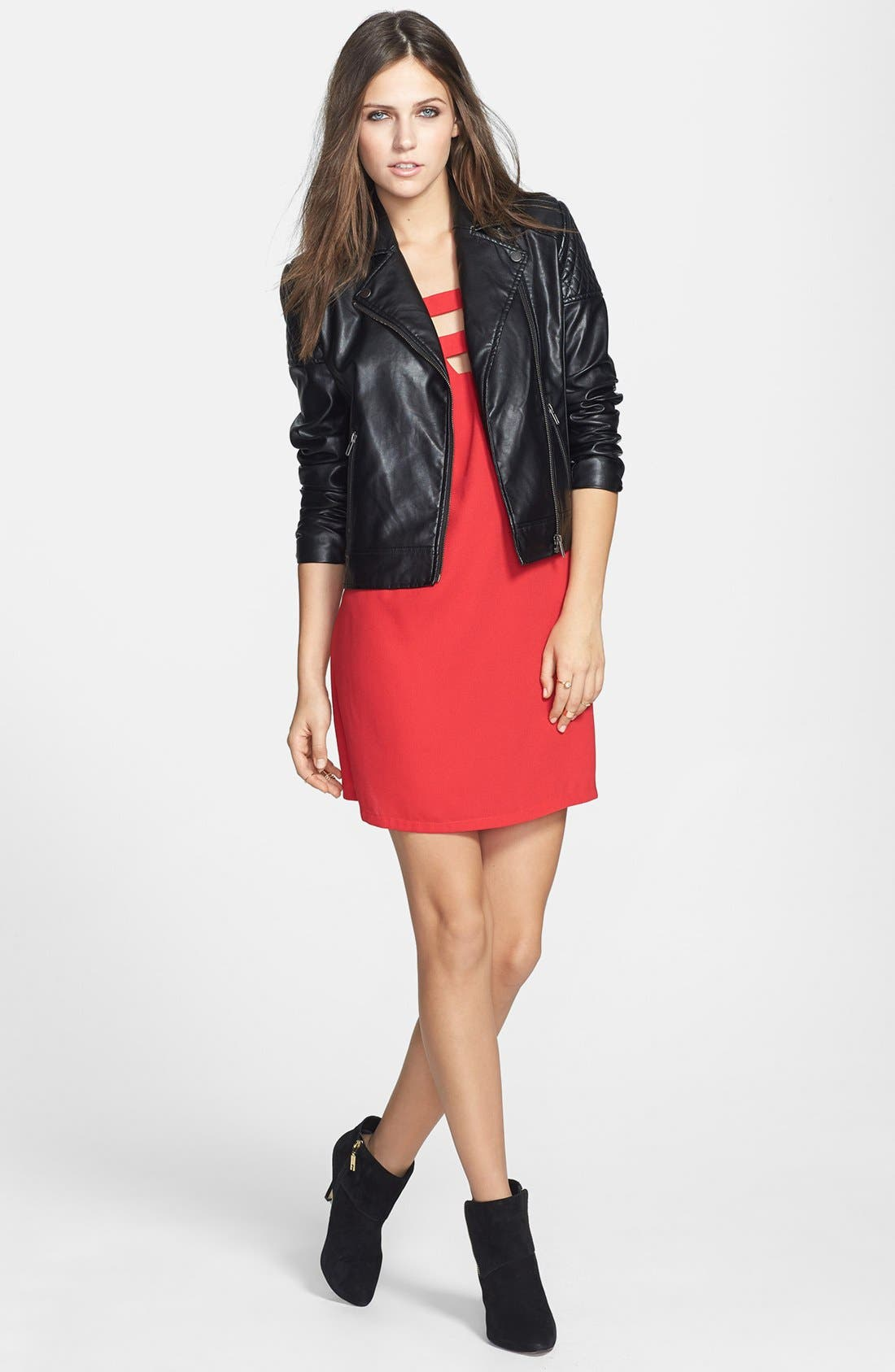 MURAL,                             Quilted Shoulder Faux Leather Moto Jacket,                             Alternate thumbnail 3, color,                             001