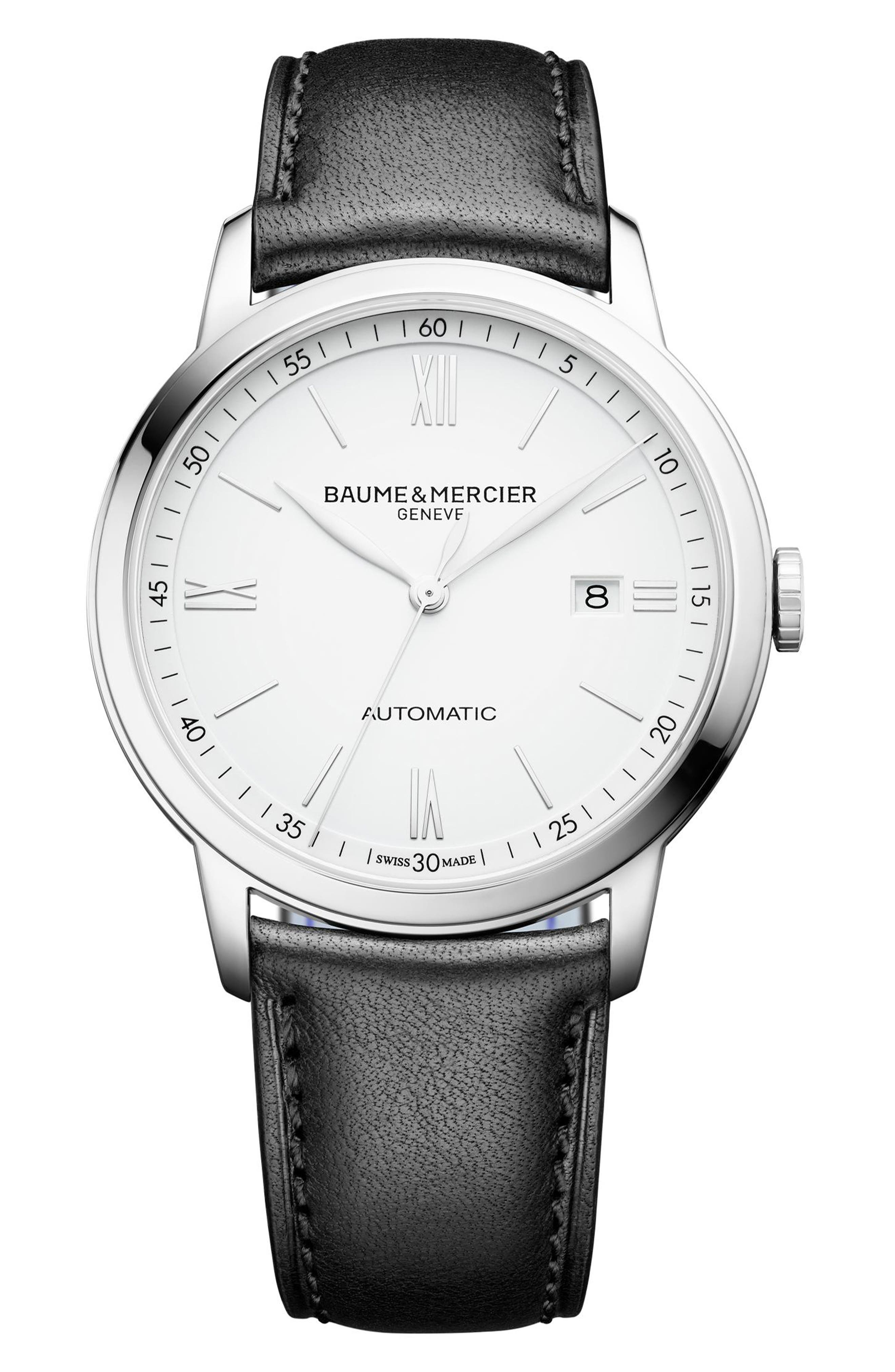 Classima Automatic Leather Strap Watch, 42mm,                         Main,                         color, 100