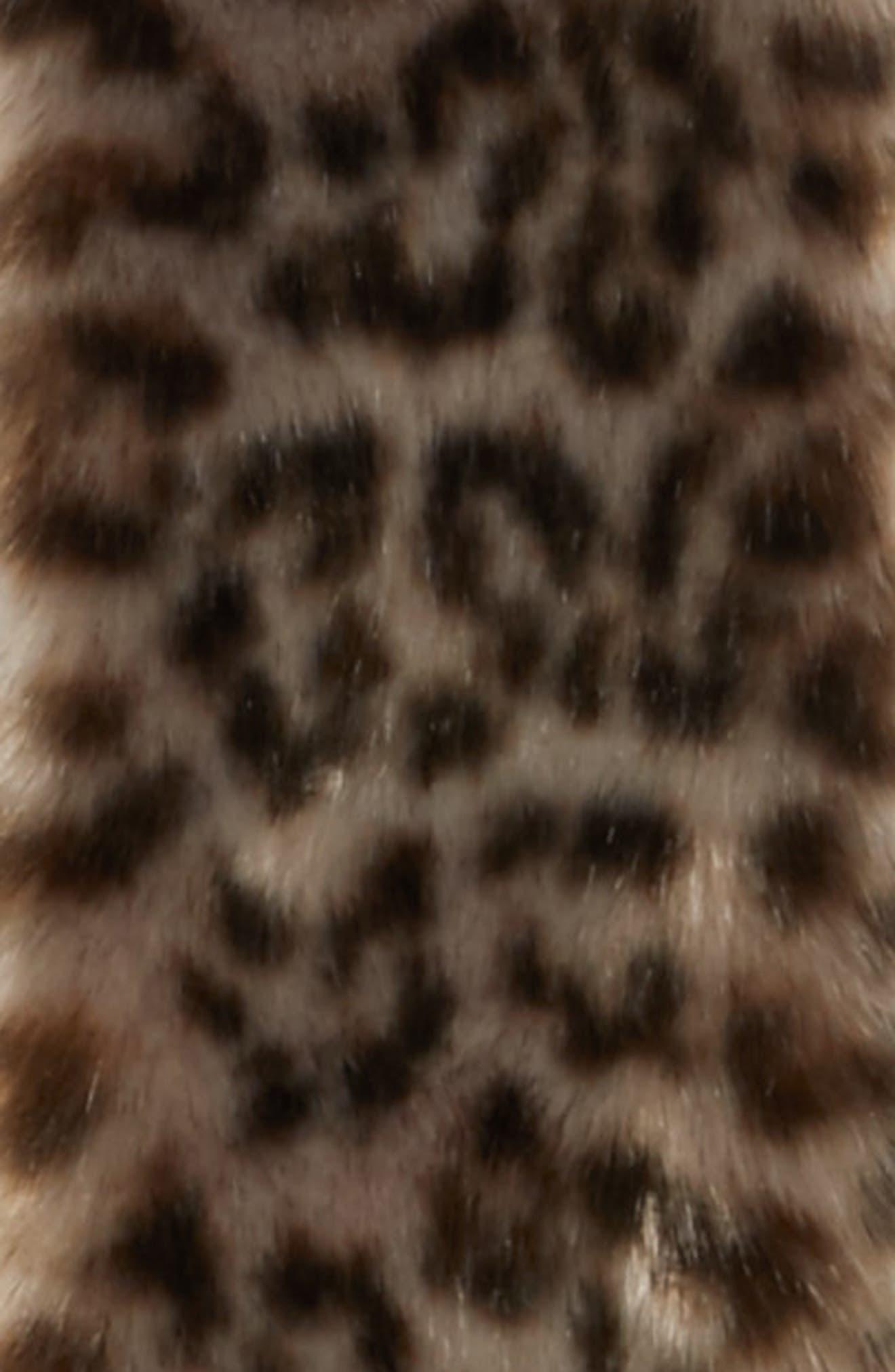 Leopard Print Faux Fur Scarf,                             Alternate thumbnail 4, color,                             020